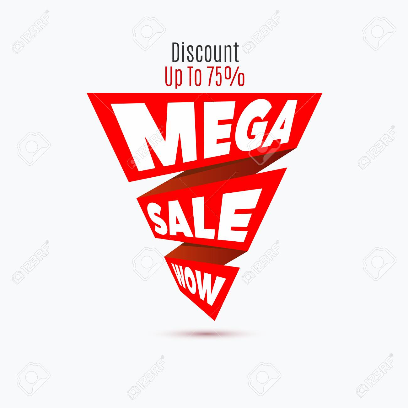 Mega Sale Design Template Creative Banner Vector Red Ribbon