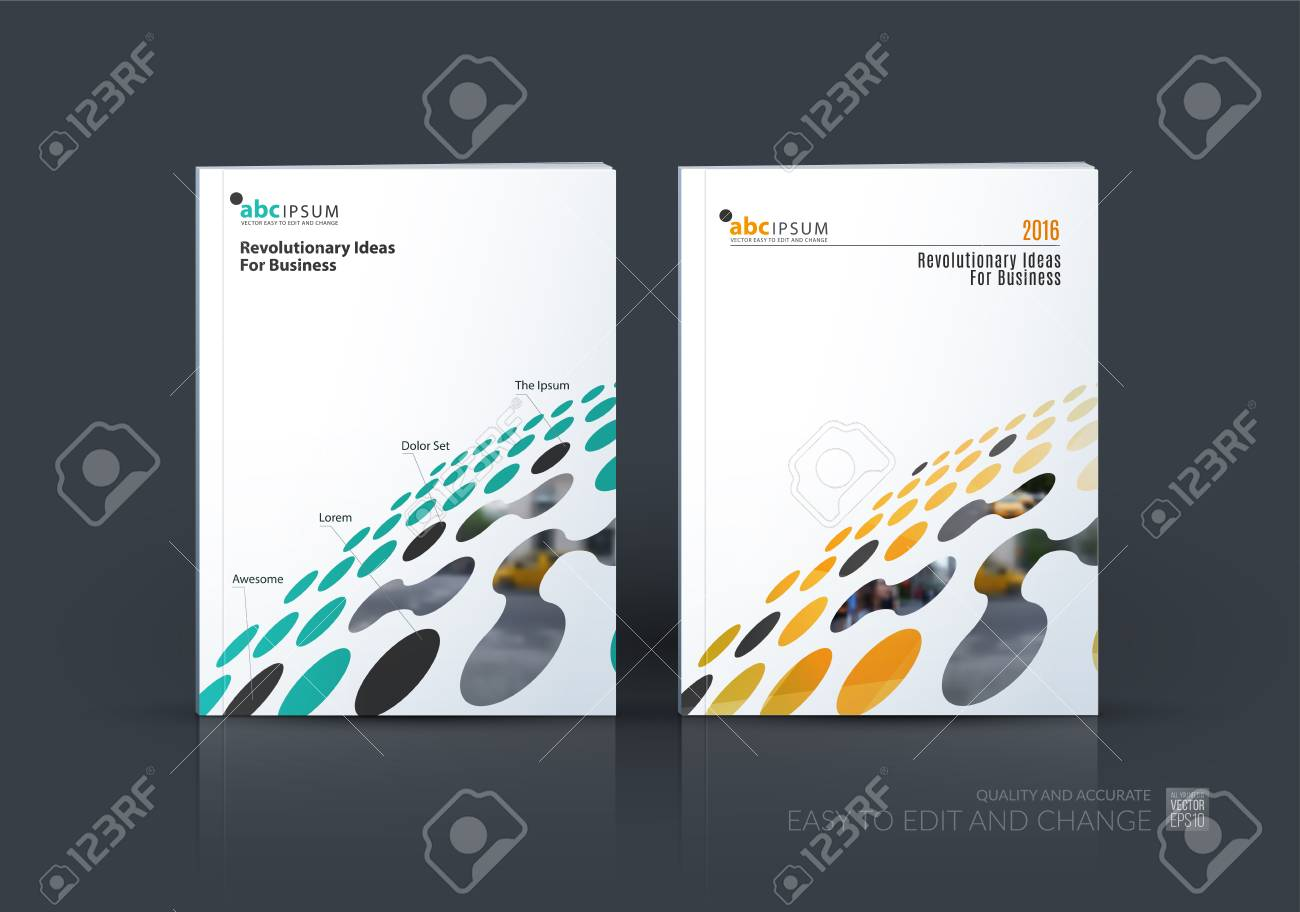 Brochure template layout, cover design annual report, magazine, flyer in A4 with colourful perspective rounds, circles, dots, spots for business, finance, science, building. Abstract vector design - 67671667