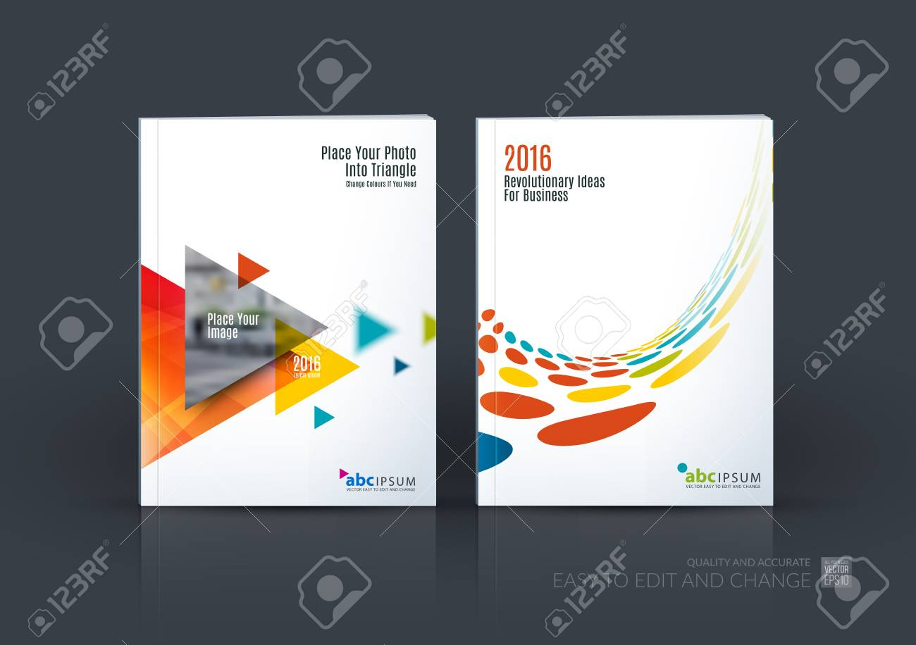 Business set. Brochure template layout, cover design annual report, magazine, in A4 with flying triangles, arrows, dots, circles for finance, science, teamwork. Abstract design - 65086477