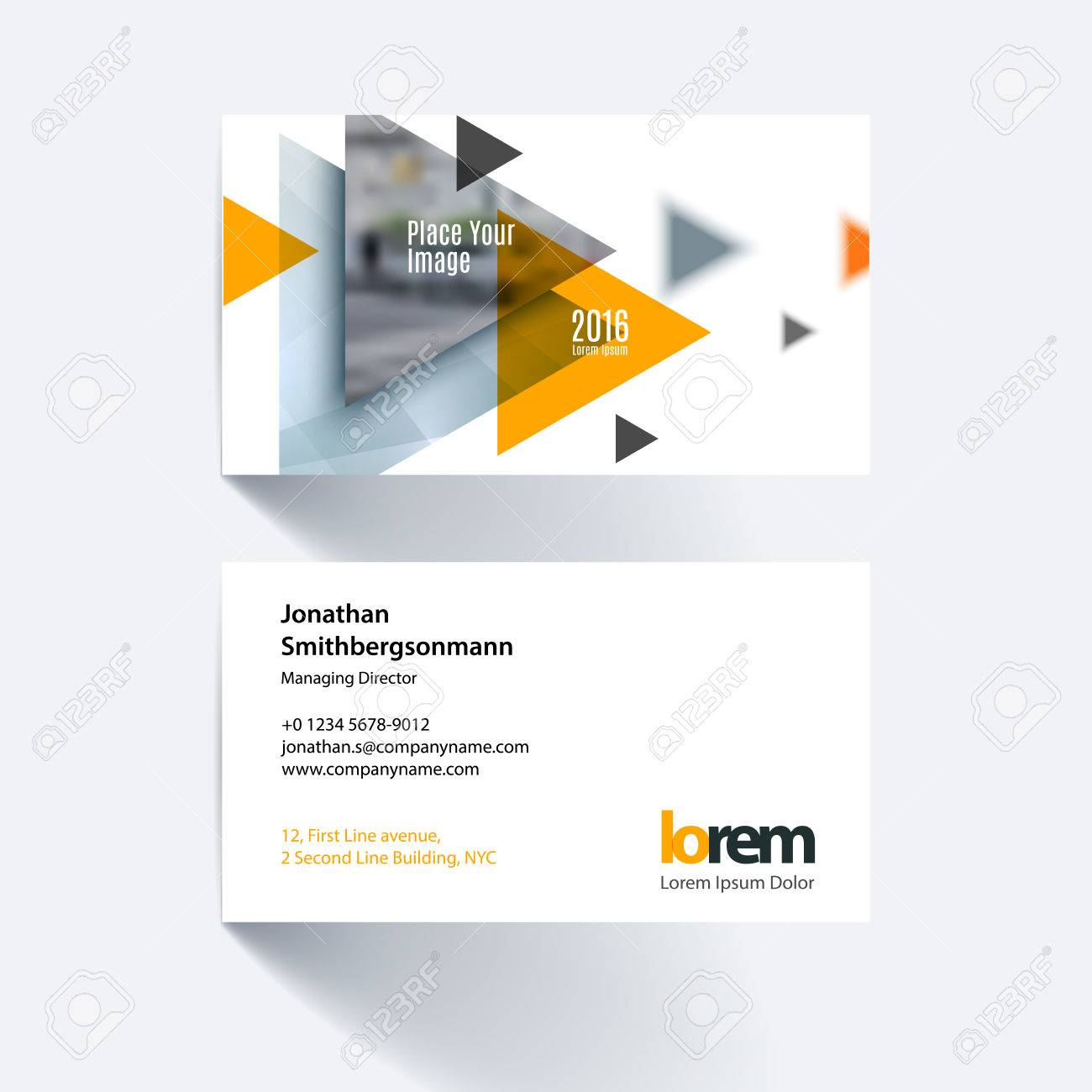 Business card template with flying triangles arrows polygons for business card template with flying triangles arrows polygons for engineering business consulting reheart Images