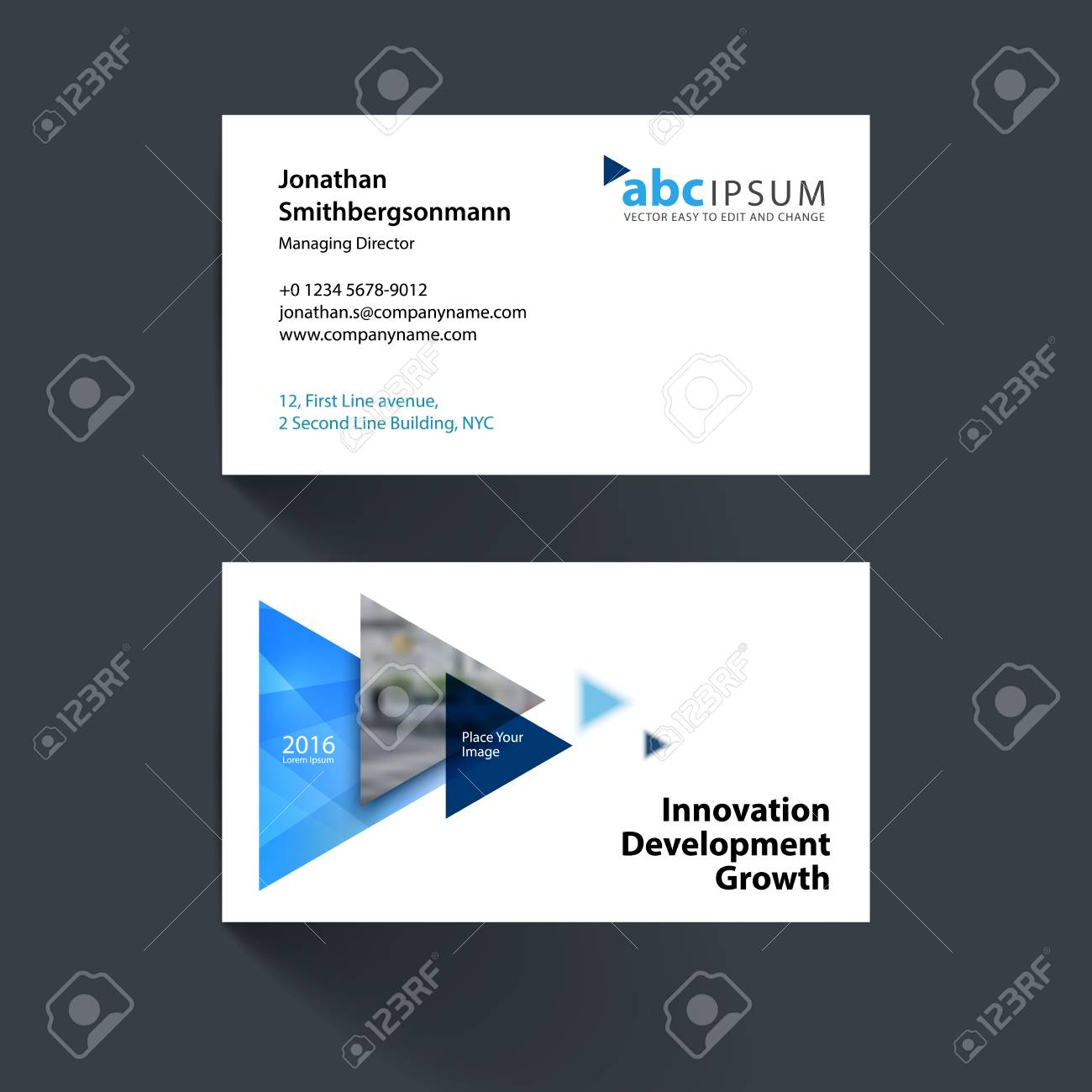 Business Card Template With Flying Triangles, Arrows, Polygons ...