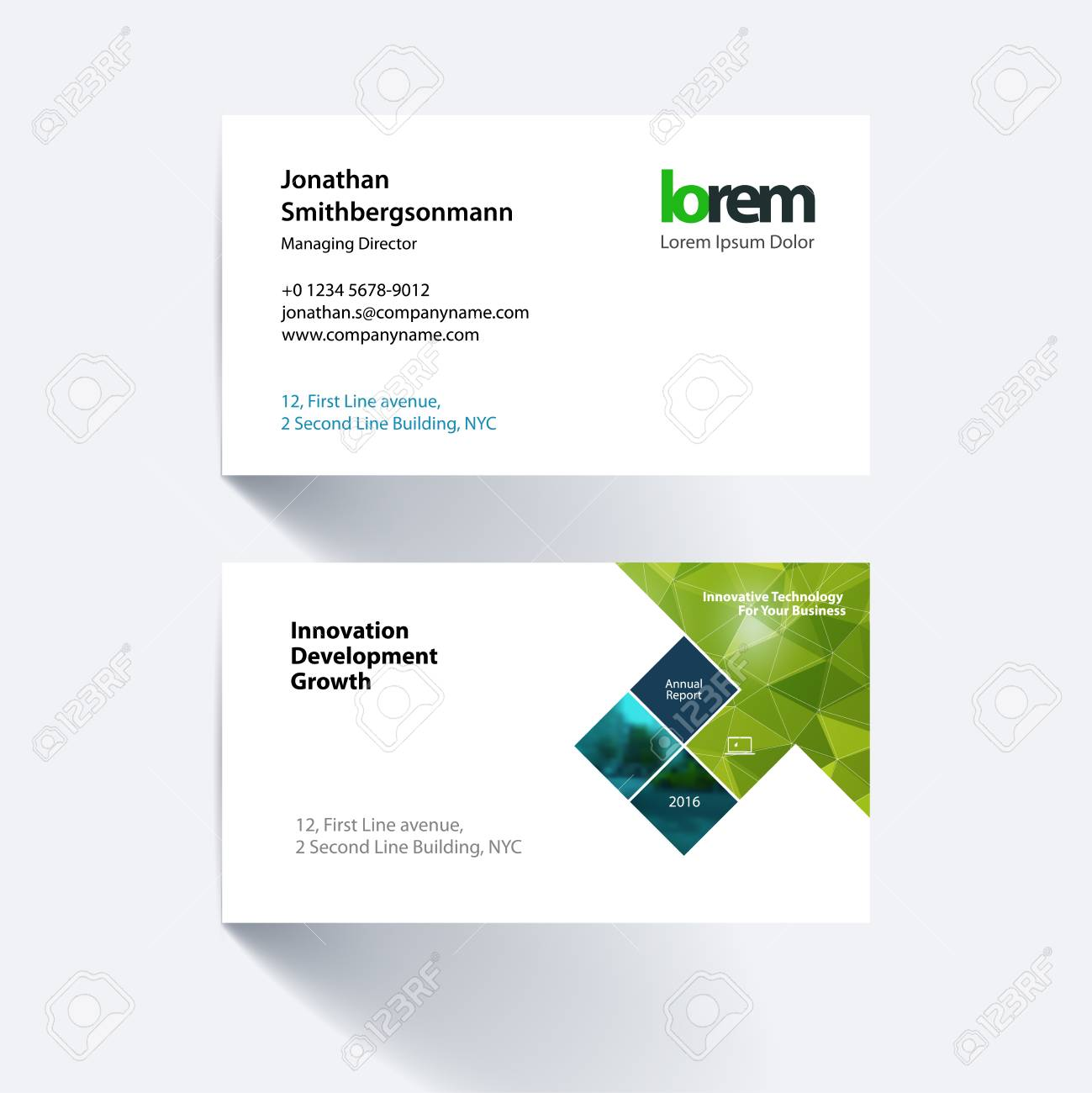 Vector business card template with green rectangles squares vector vector business card template with green rectangles squares diagonal house window for real estate business building simple and clean design flashek Image collections