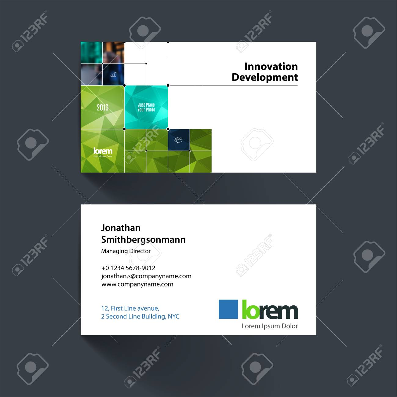 Modele De Carte Visite Vecteur Avec Des Formes Rectangulaires Vertes Carres Lignes Tours Pour Linformatique Les Affaires