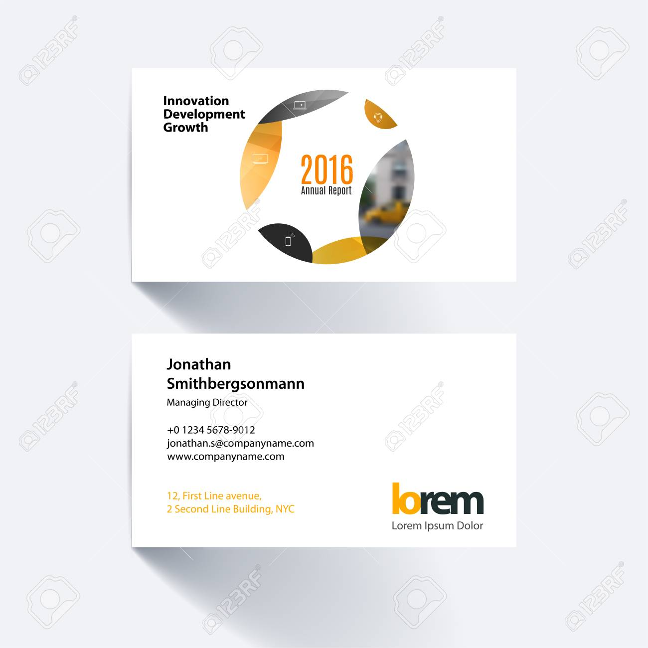 Vector business card template with yellow circle soft shapes vector business card template with yellow circle soft shapes round for it business flashek Gallery