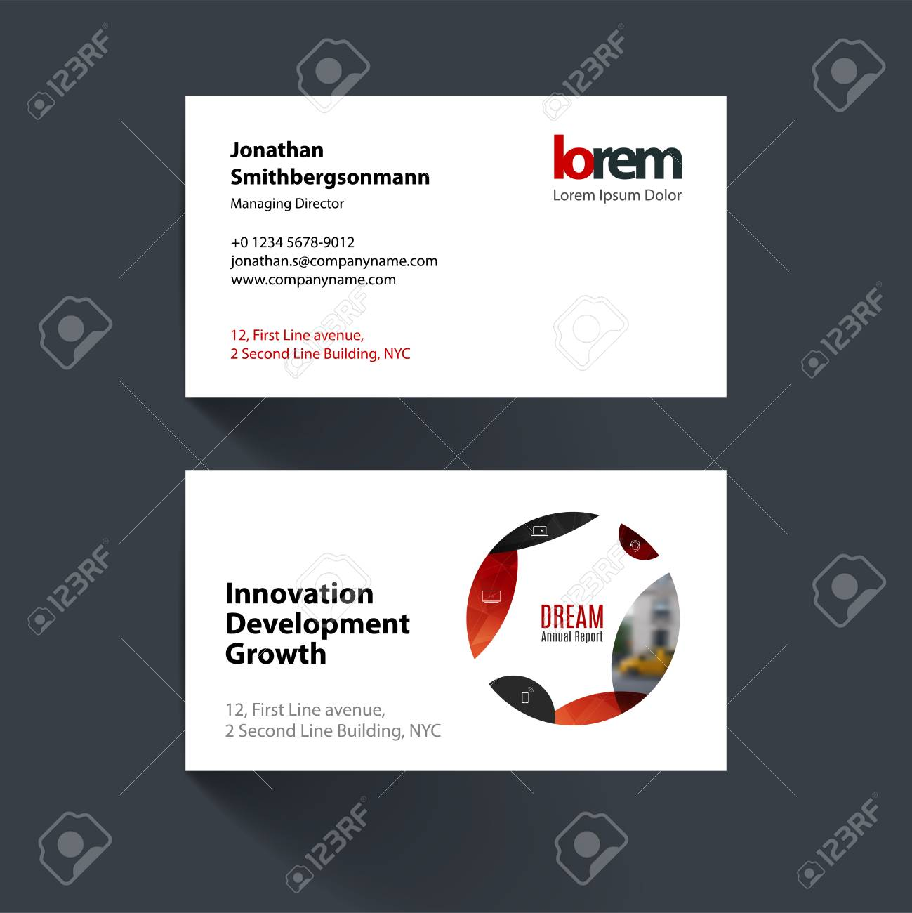 Vector Business Card Template With Red Circle Soft Shapes Round - Round business card template