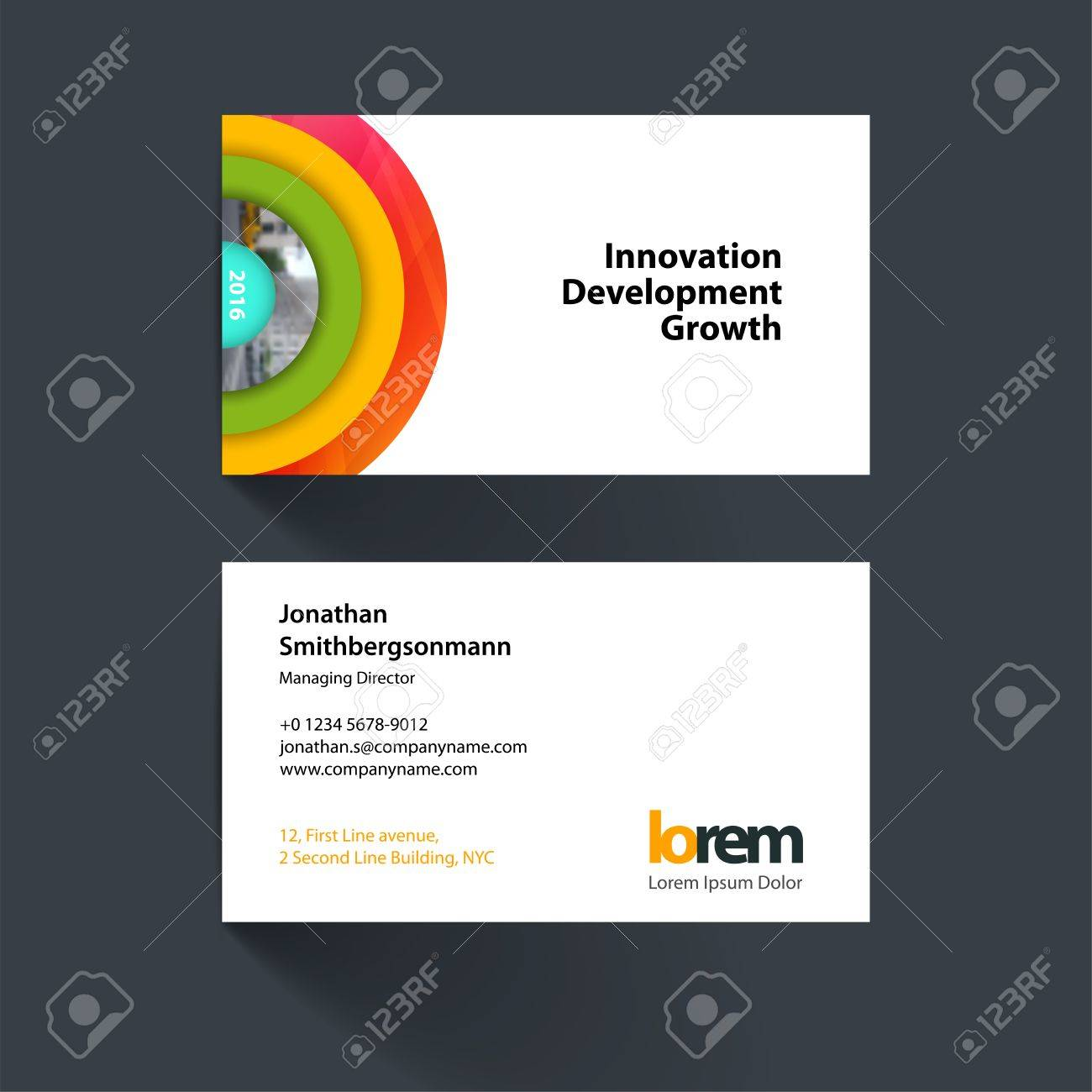 Vector business card template with colourful half target rainbow vector business card template with colourful half target rainbow circles rounds for it reheart Choice Image