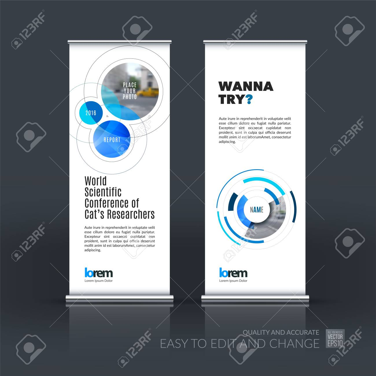 Abstract Business Set Of Modern Roll Up Banner Stand Design Template ...