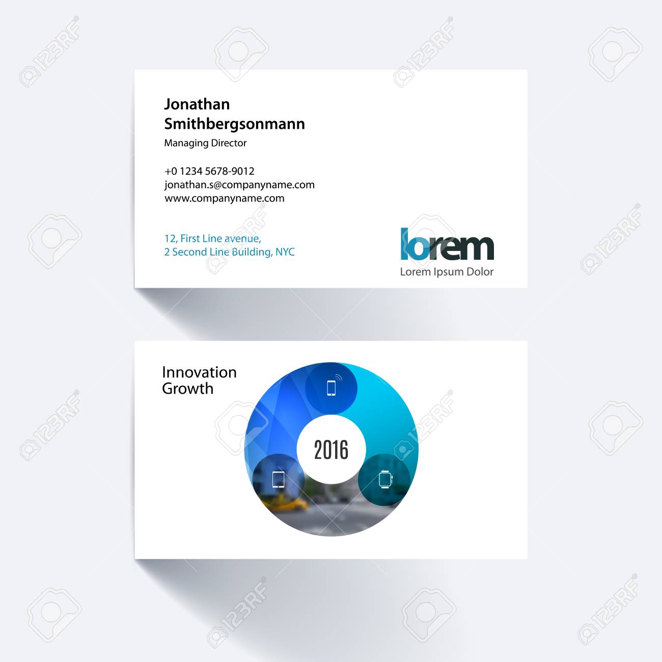 Business Card Template With Circle Round Diagram For IT Business - Round business card template