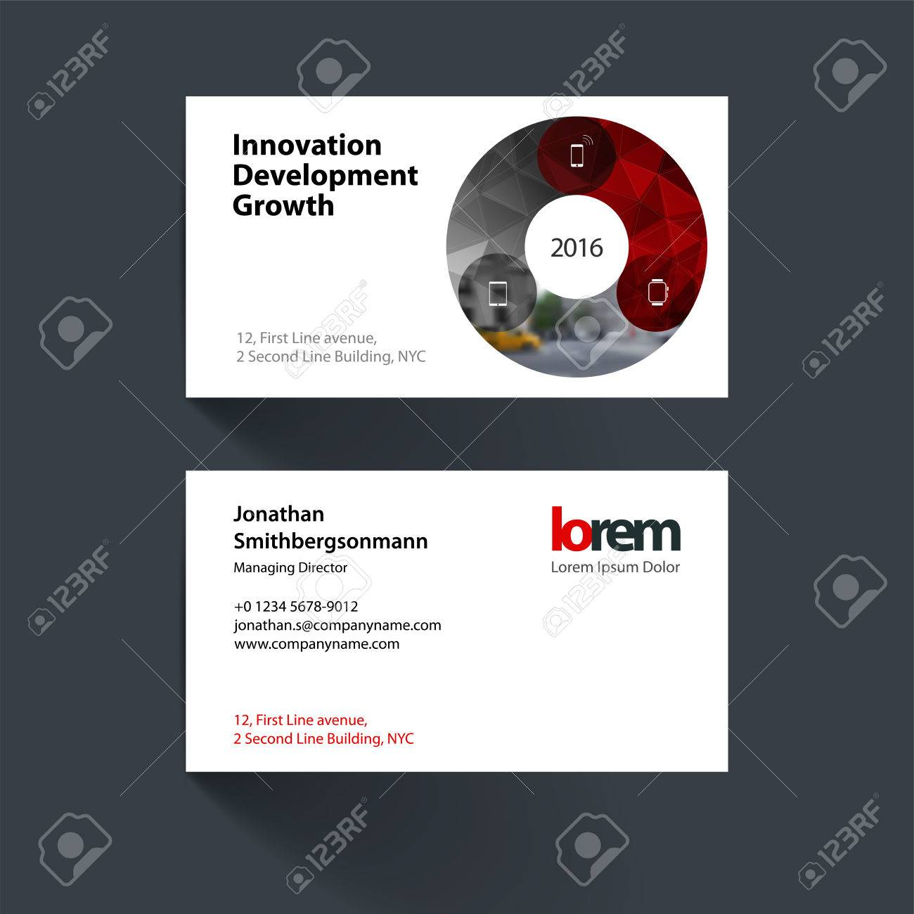 business card template with circle round diagram for it business