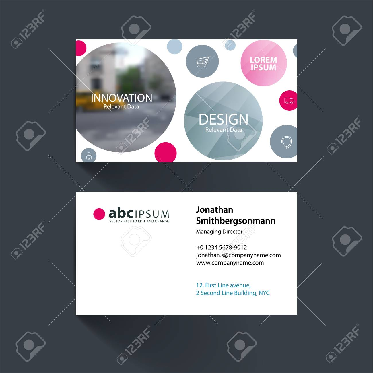 Business Card Template With Points Circles Dots For IT, Business ...