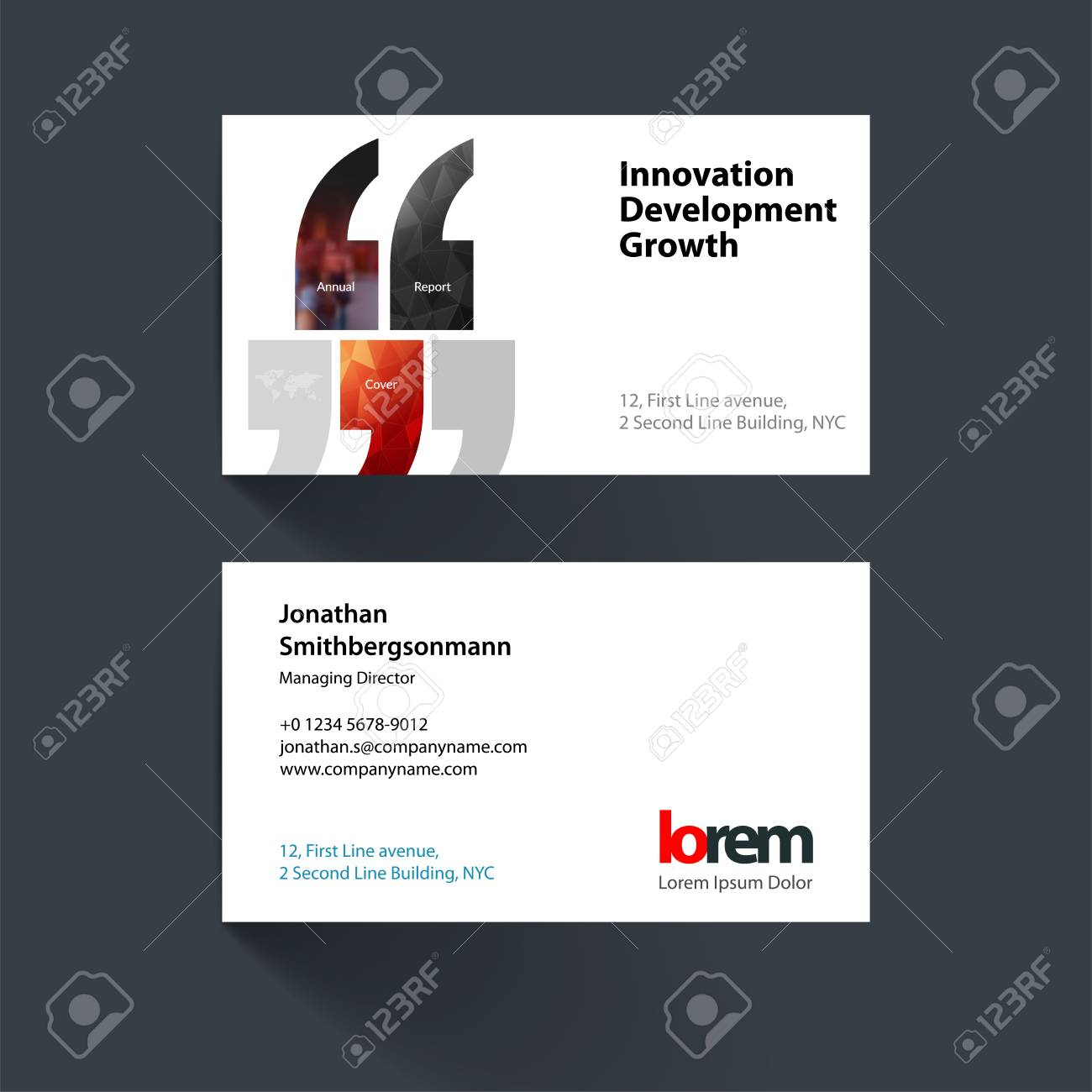 Vector Business Card Template With Quotes, Commas For Eco, Busin ...