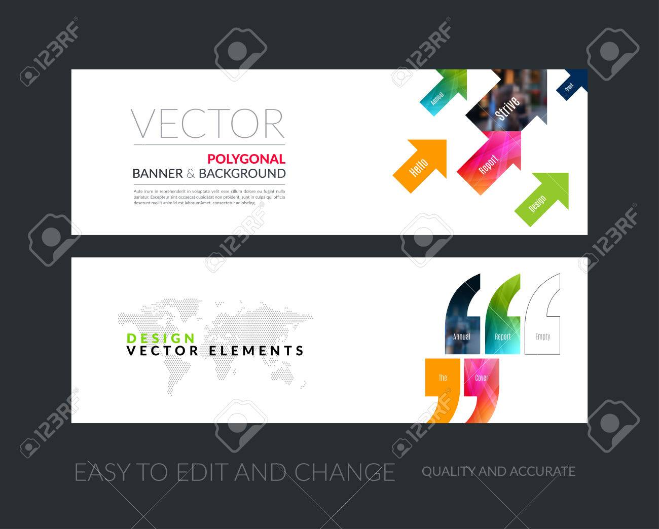 vector set of modern horizontal website banners with diagonal