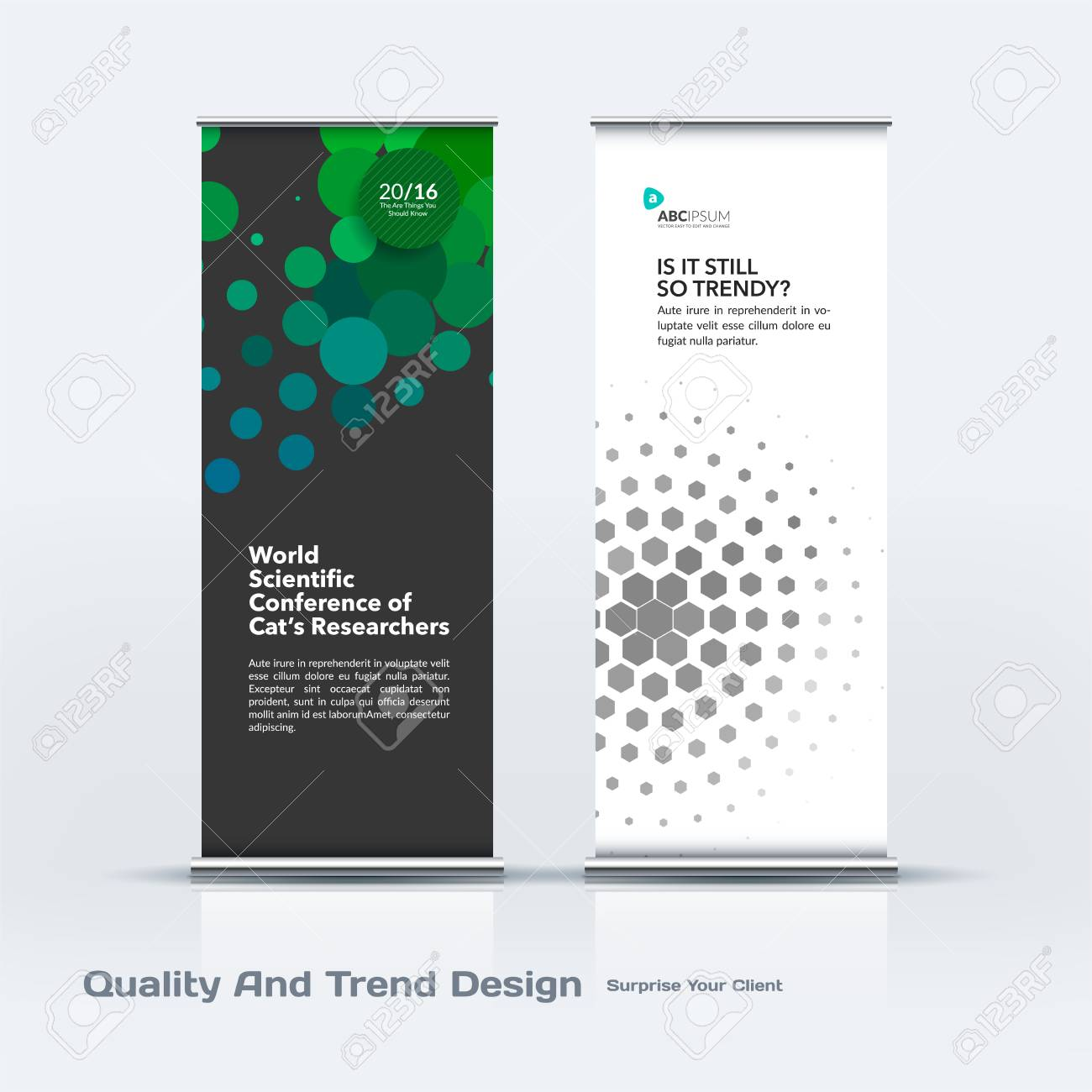 abstract business vector set of modern roll up banner stand design template with colourful rounds
