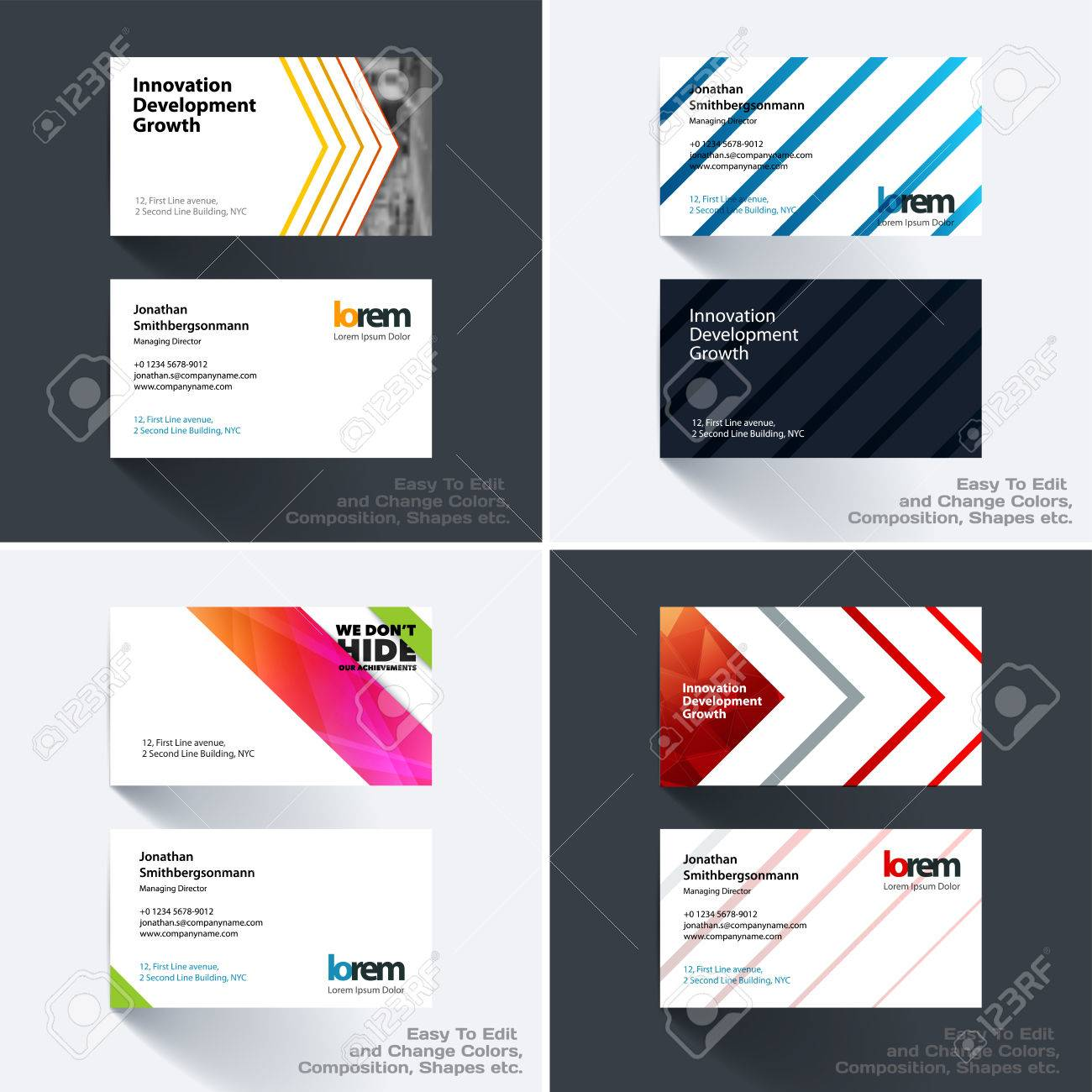 Vector Business Card Template With Many Colourful Rectangles
