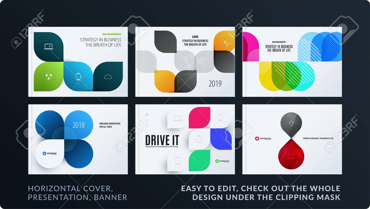 Presentation. Abstract vector set of modern horizontal templates with colourful wave rounded shapes for business, teamwork, tech, ecology. Clean web headers design collection. - 97129240