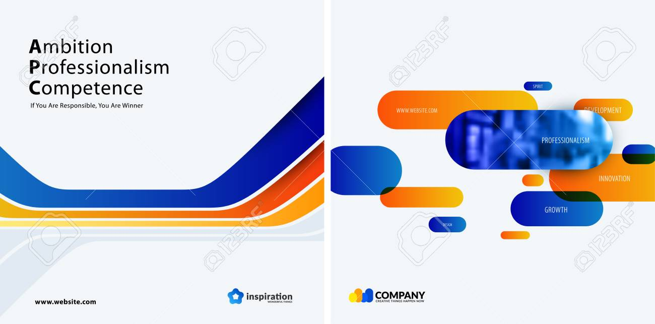 Set Of Blue Orange Abstract Vector Design For Graphic Template