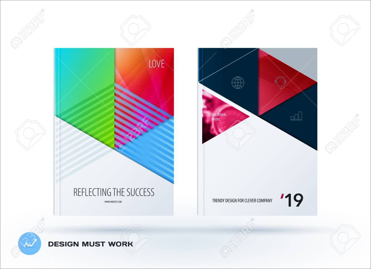 material design template creative abstract brochure set annual