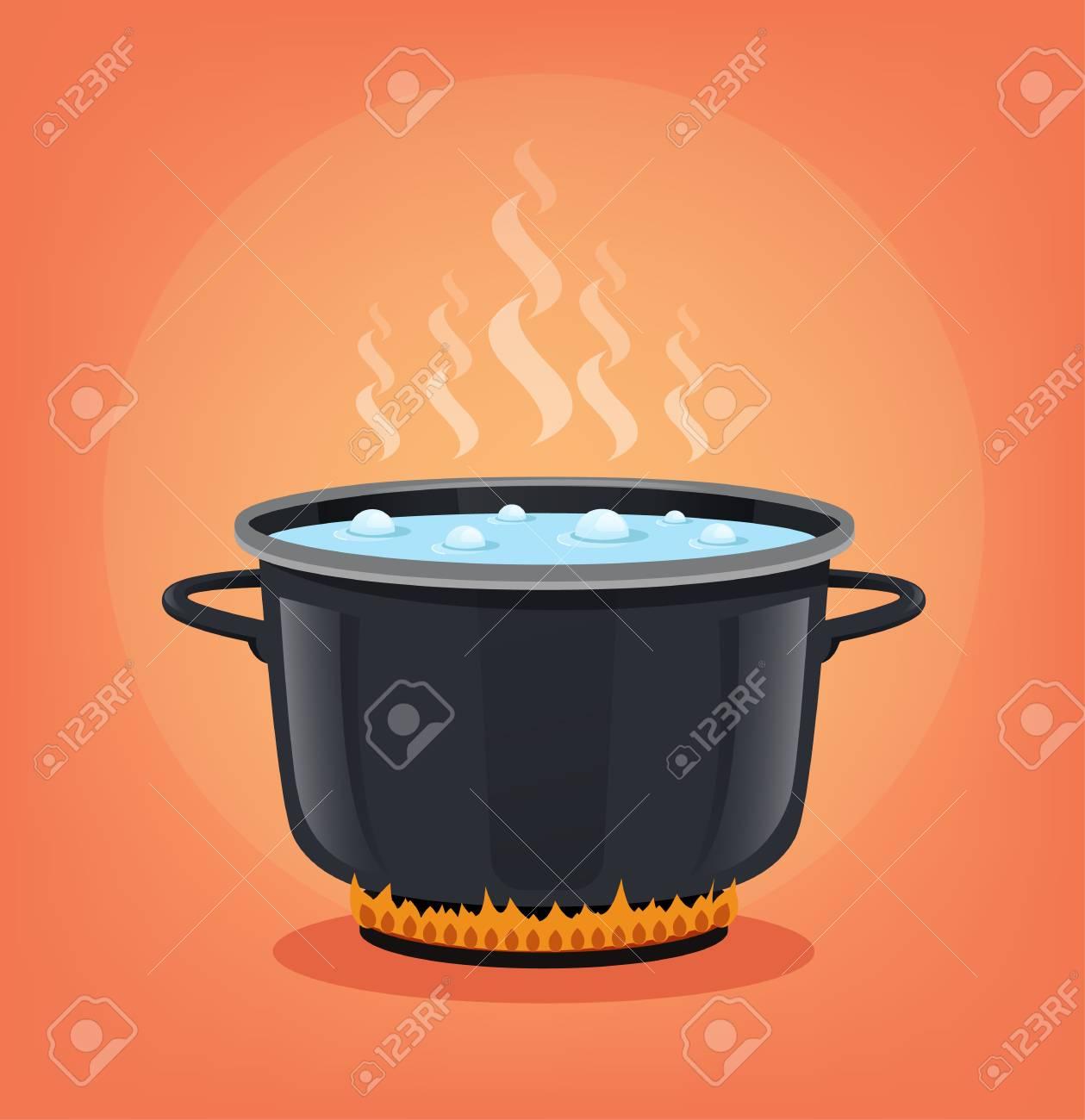 Dessin Casserole Cuisine bouillir l'eau dans une casserole noire. concept de cuisine