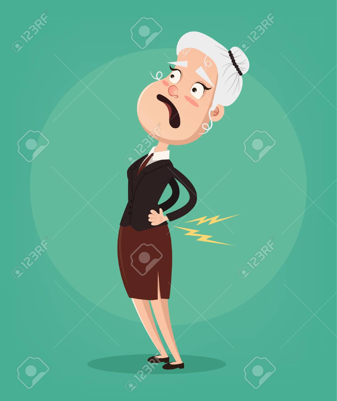 Old woman character have spine pain and problem. Vector flat cartoon illustration - 95287365