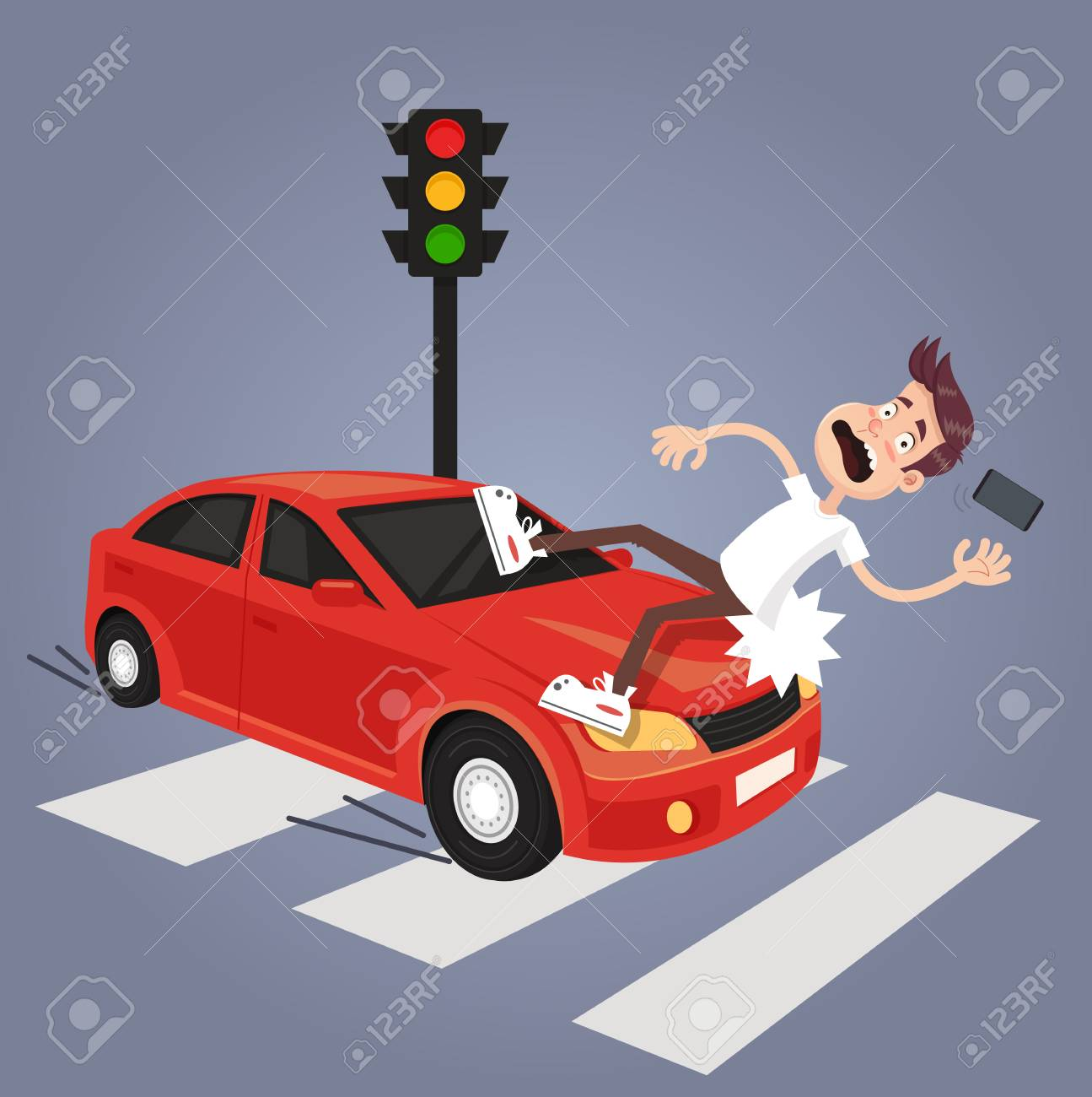 Driver hit careless man character with phone by car. Road car drunk driver and careless pedestrian accident concept. Vector flat cartoon isolated illustration - 97995483
