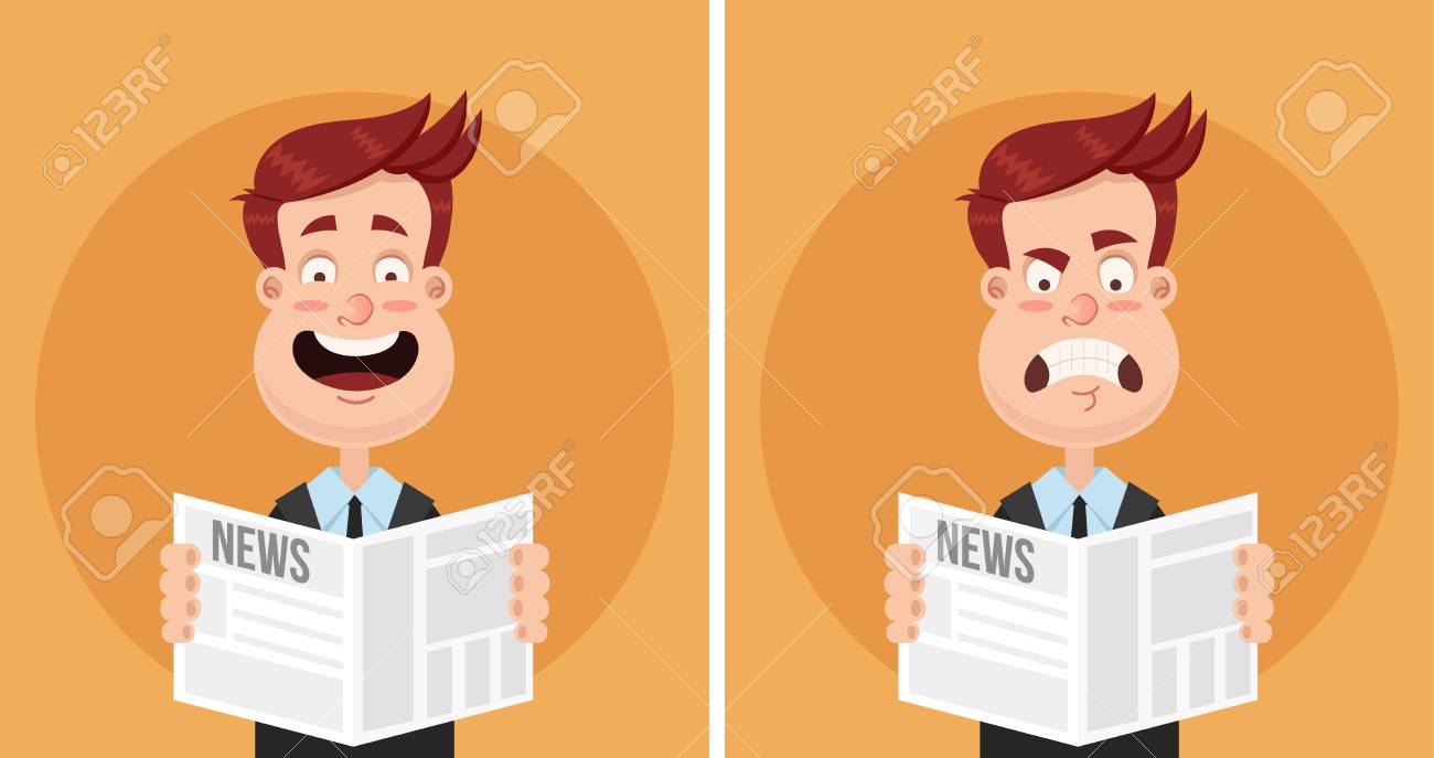 Happy smiling and sad frustrated business man reading a newspaper. Daily news tabloid concept. Positive and negative emotions. Vector flat cartoon, isolated illustration set. - 98475882