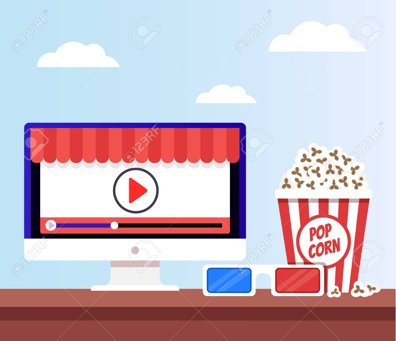 Computer monitor and popcorn  Home tv online stream broadcast