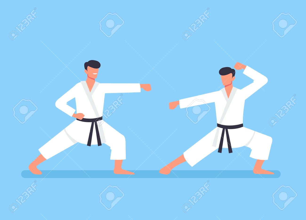 Two sport karate man characters fight. Sport training concept. Vector flat cartoon graphic design illustration - 120897779