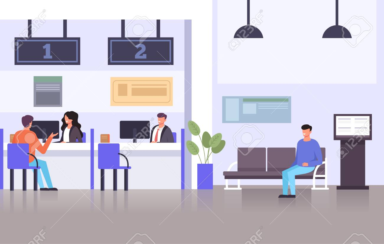 Bank specialist workers consultants talking with consumers. Financial banking credit concept. Vector flat graphic design illustration - 121355556