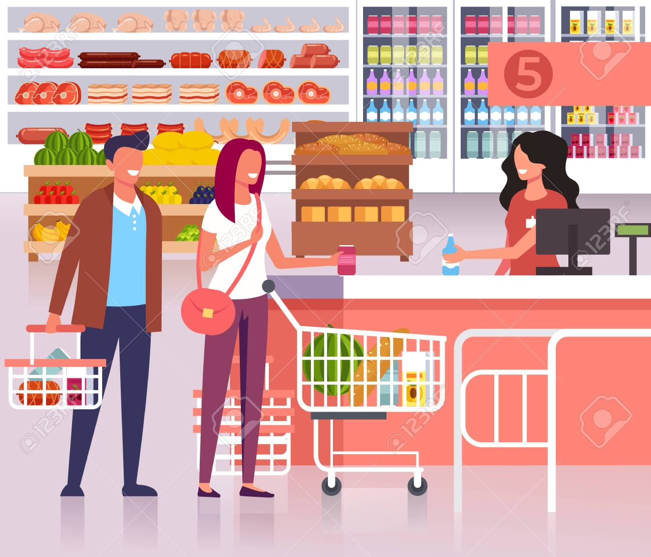 People In The Supermarket Store Vector Flat Cartoon Graphic Royalty Free Cliparts Vectors And Stock Illustration Image 122557156