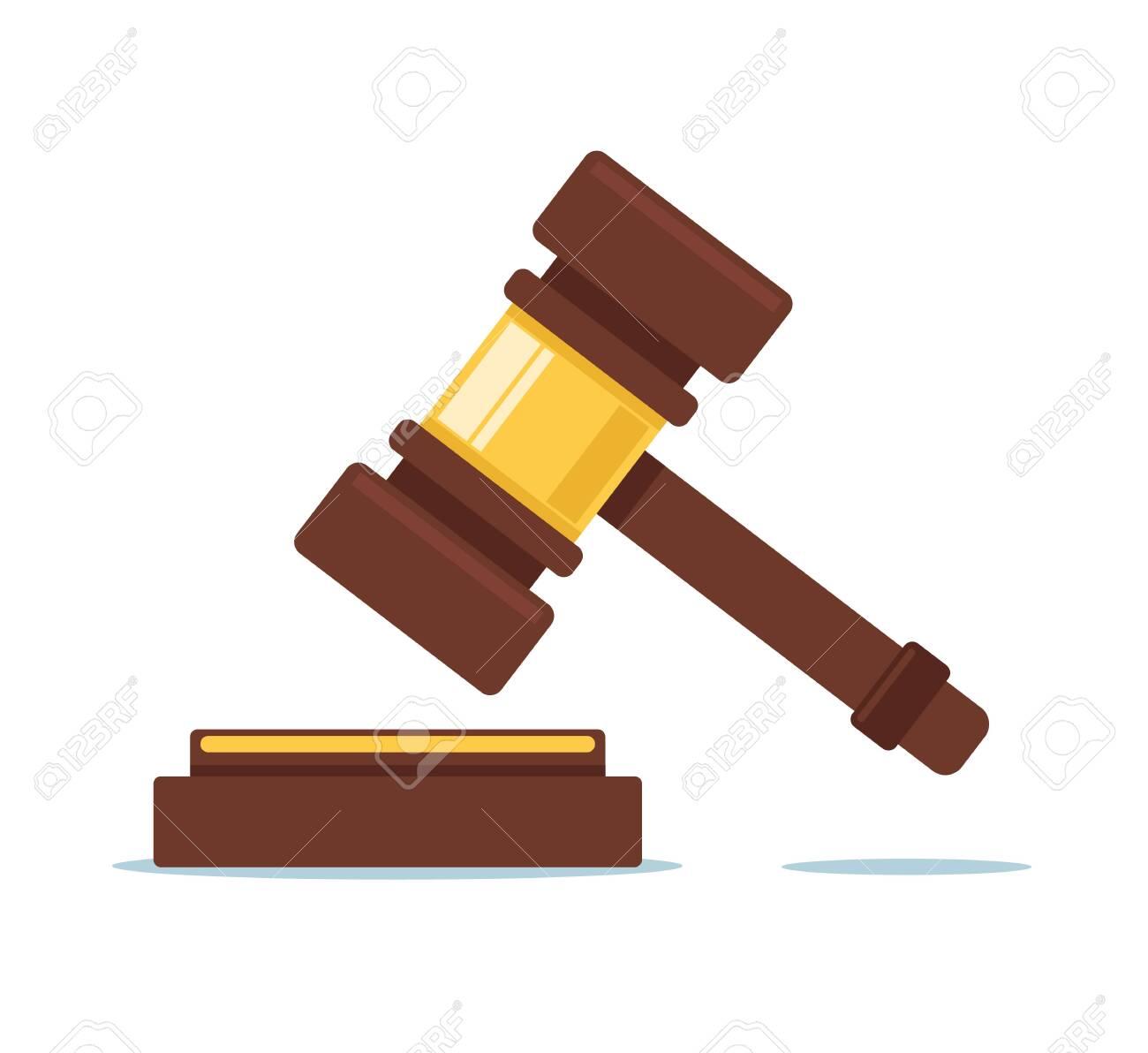 Judicial judge court hammer concept. Vector flat cartoon graphic design illustration - 132260189