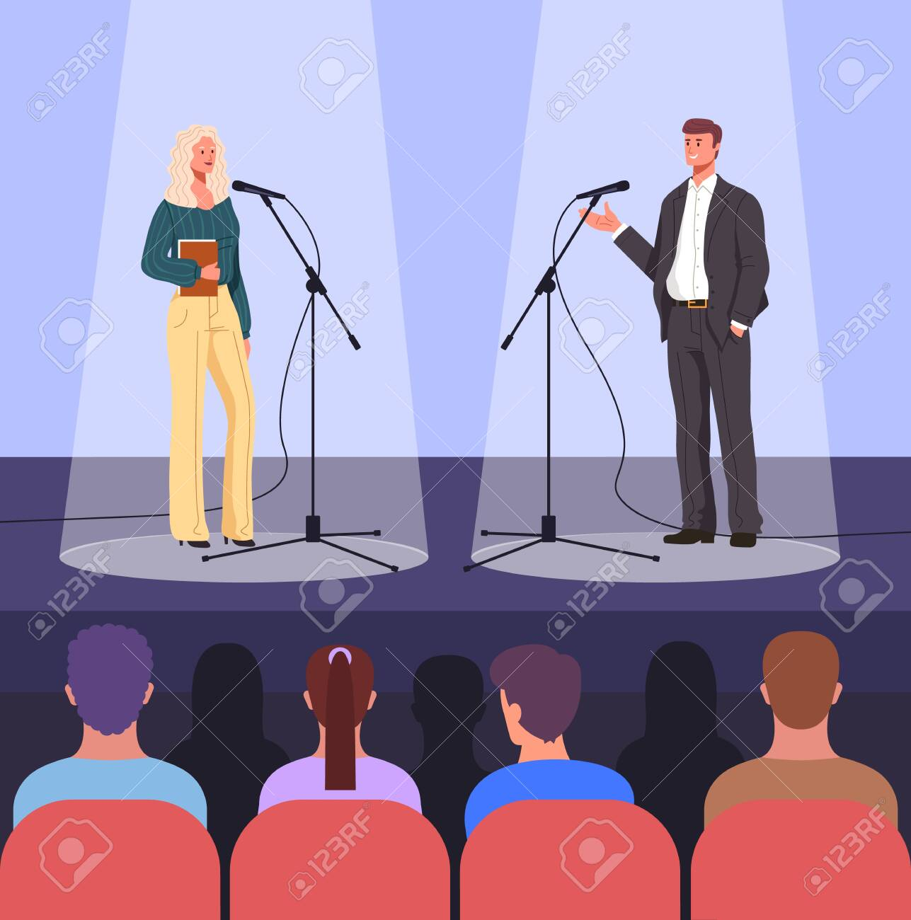Stage debate performance concept. Vector flat graphic design cartoon illustration - 143524434