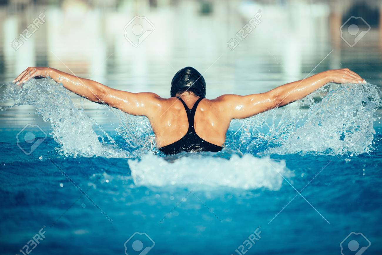 後ろからバタフライ泳者 ロイヤ...