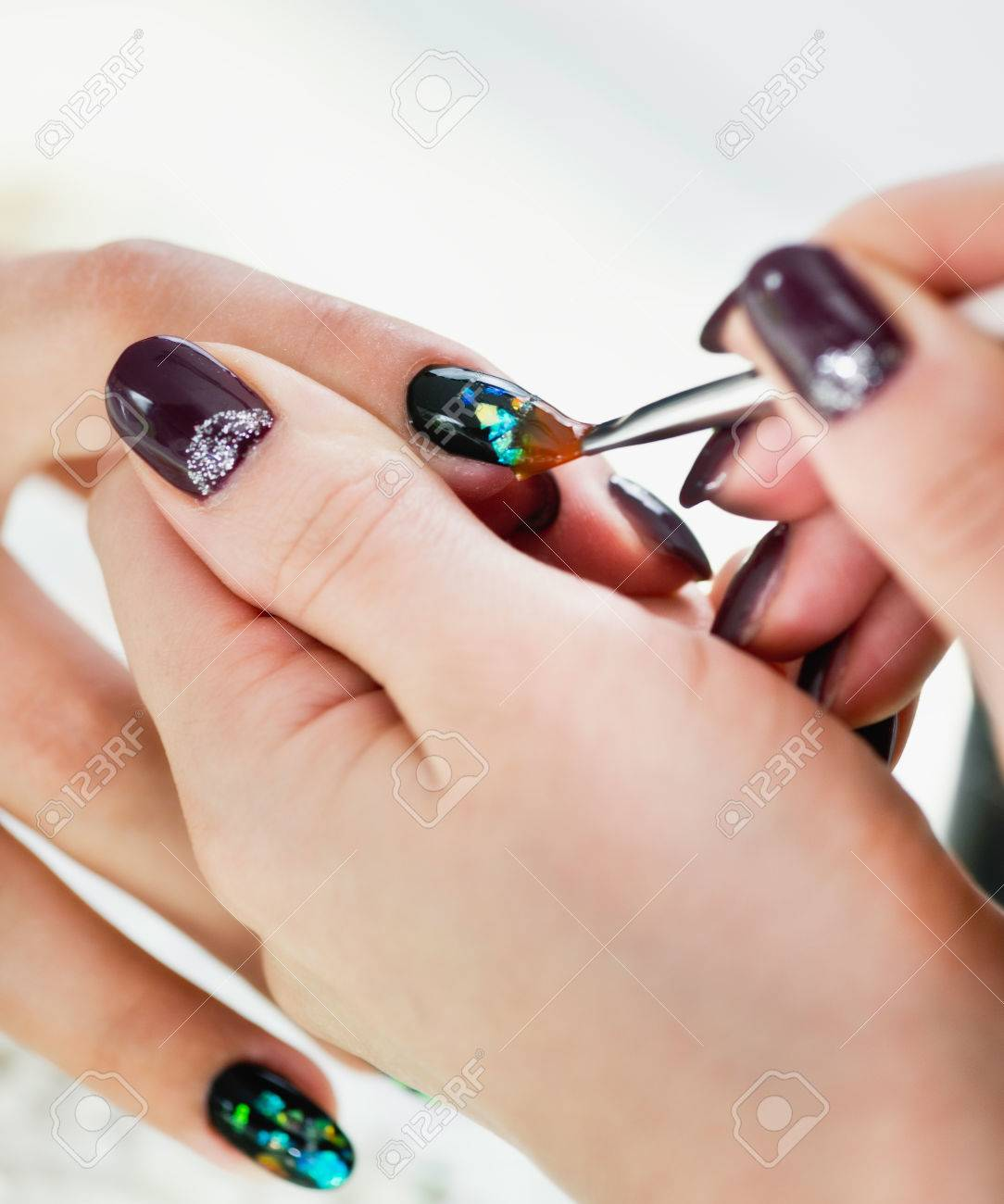 Painting Fingernails In Nail Salon Stock Photo, Picture And Royalty ...