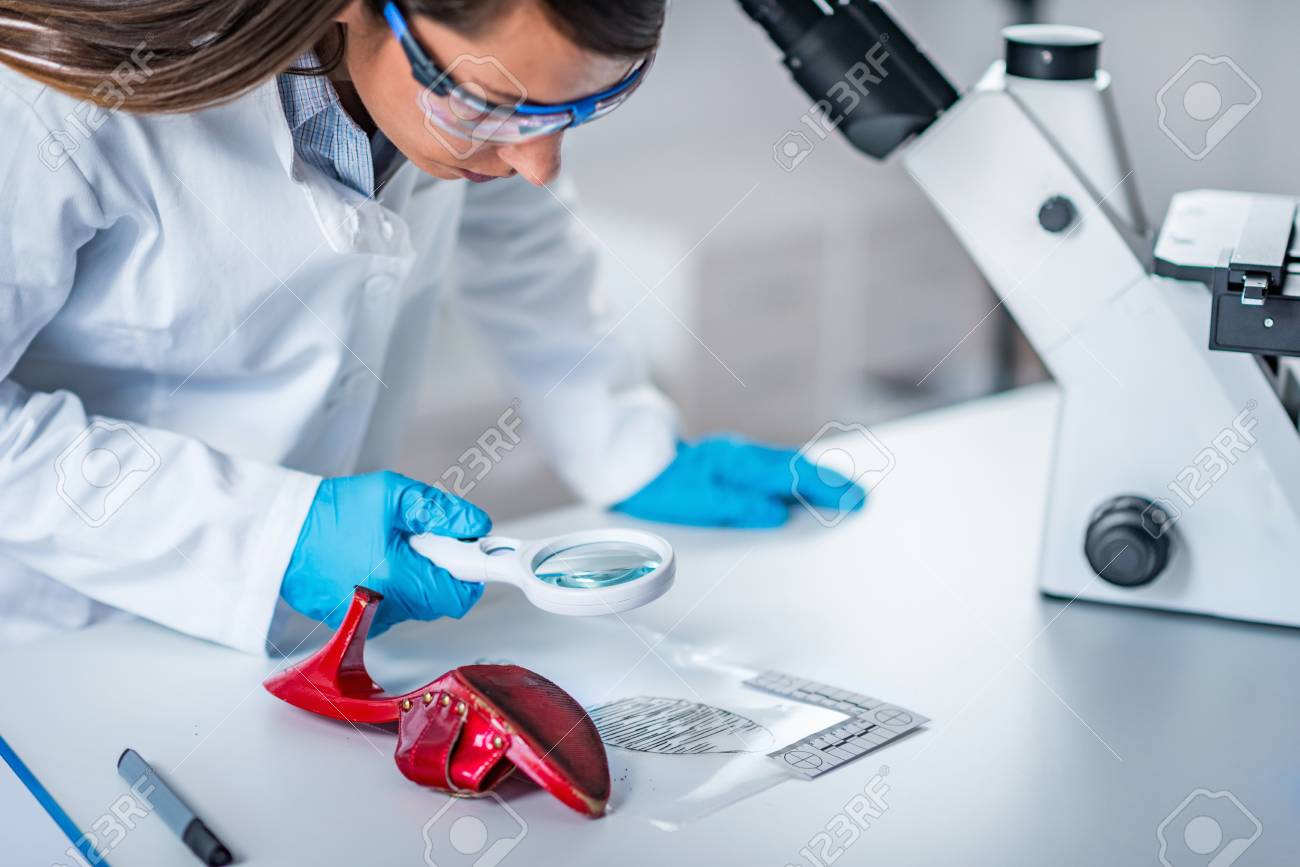Forensic Science Expert Examining Objects From A Crime Scene Stock Photo Picture And Royalty Free Image Image 101728921
