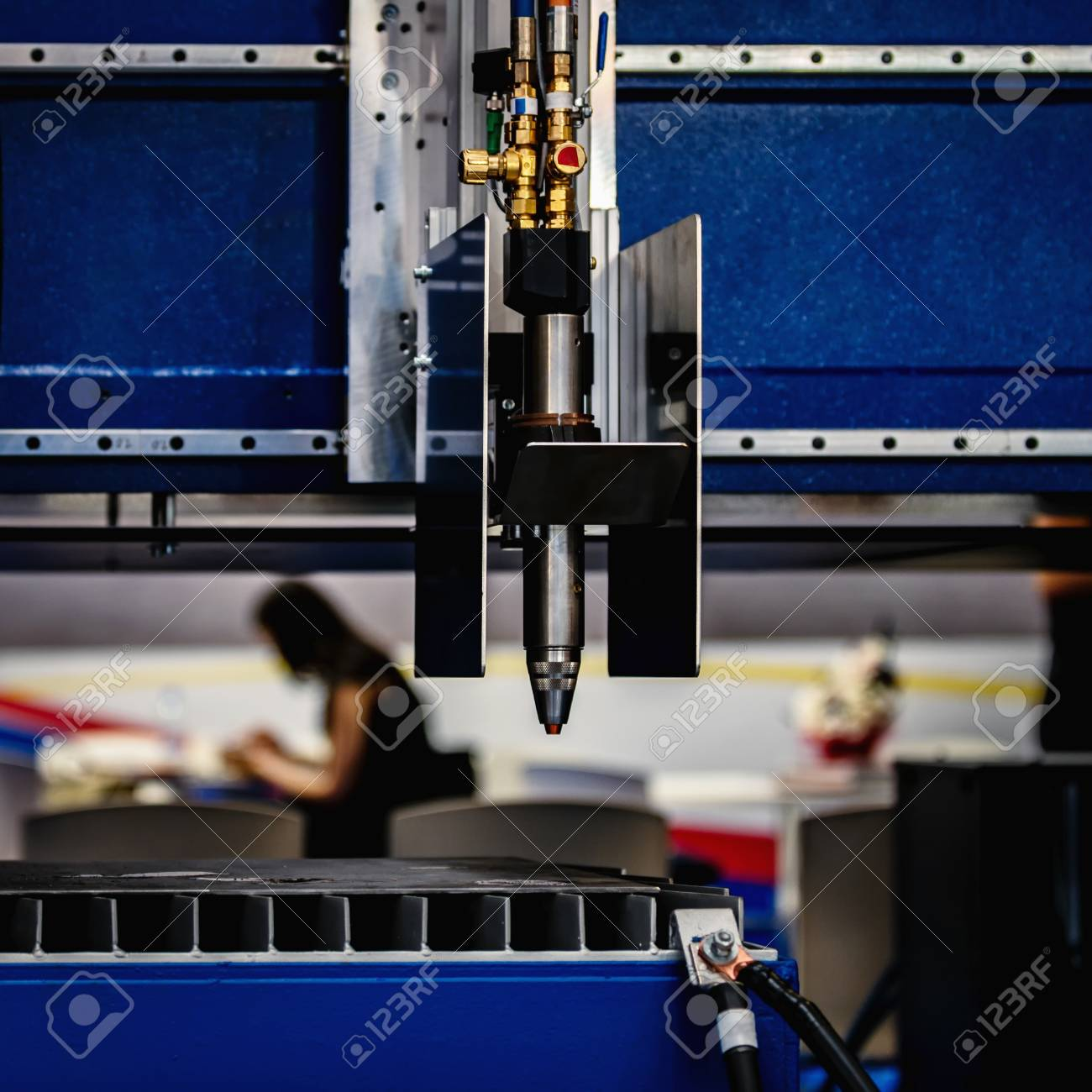 Close-Up square image of laser cutting machine  Industrial CNC