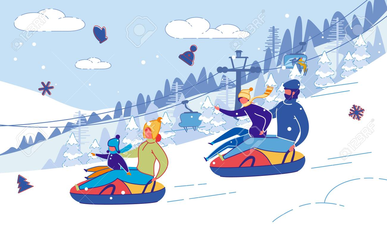 Family with Children Sliding Down Hill on Tubing. - 136075490