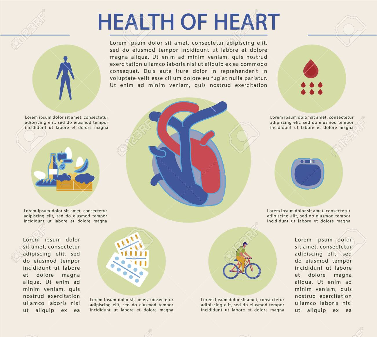 Bright Banner Written Health Of Heart Infographic In Center Royalty Free Cliparts Vectors And Stock Illustration Image 138145132