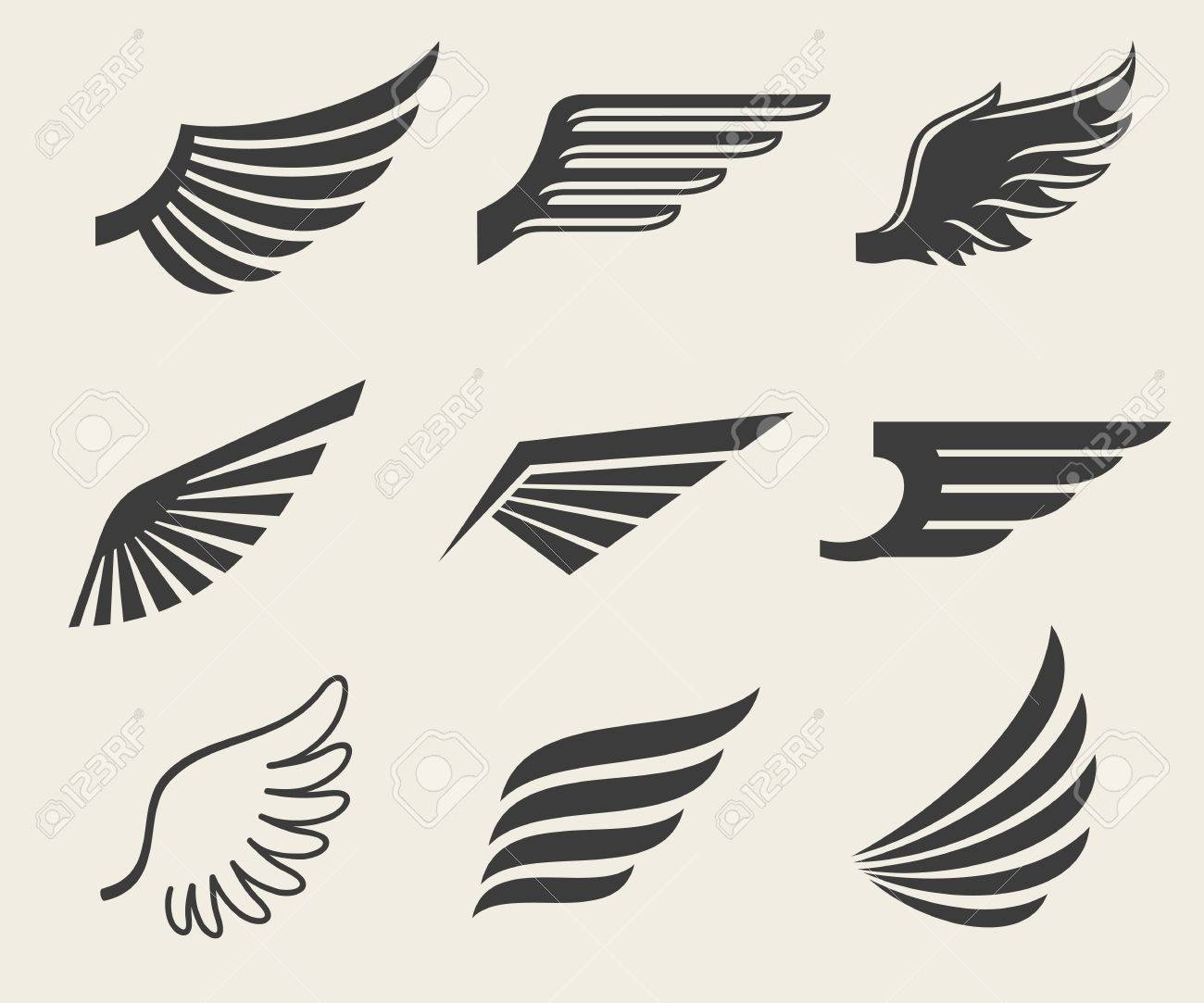 Wings vector icons set. Wing set, icon wing, feather wing bird illustration - 55591075