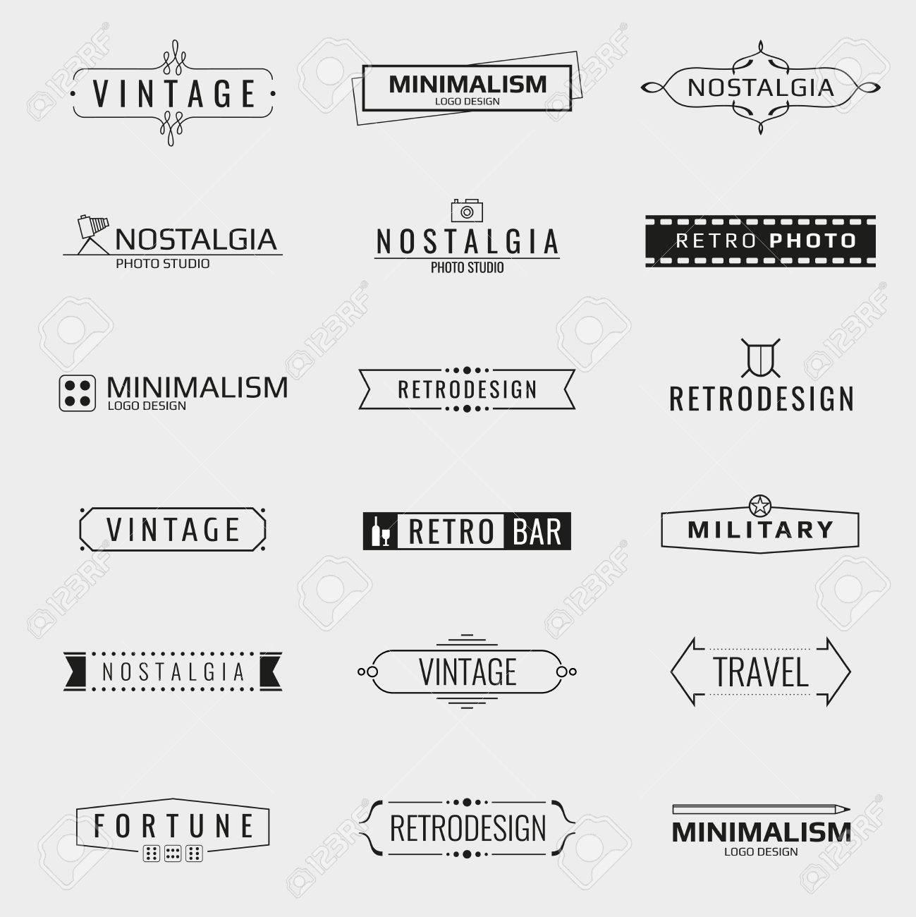 Vector minimal vintage logo templates. Logo travel, emblem company logo bar, brand logo photo studio illustration - 55591080