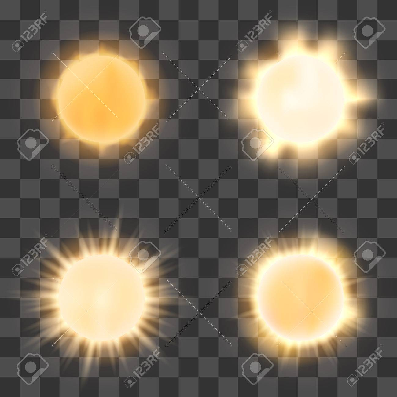 Realistic Sun On Transparent Background Shine Or Bright Icons Checkered Stock