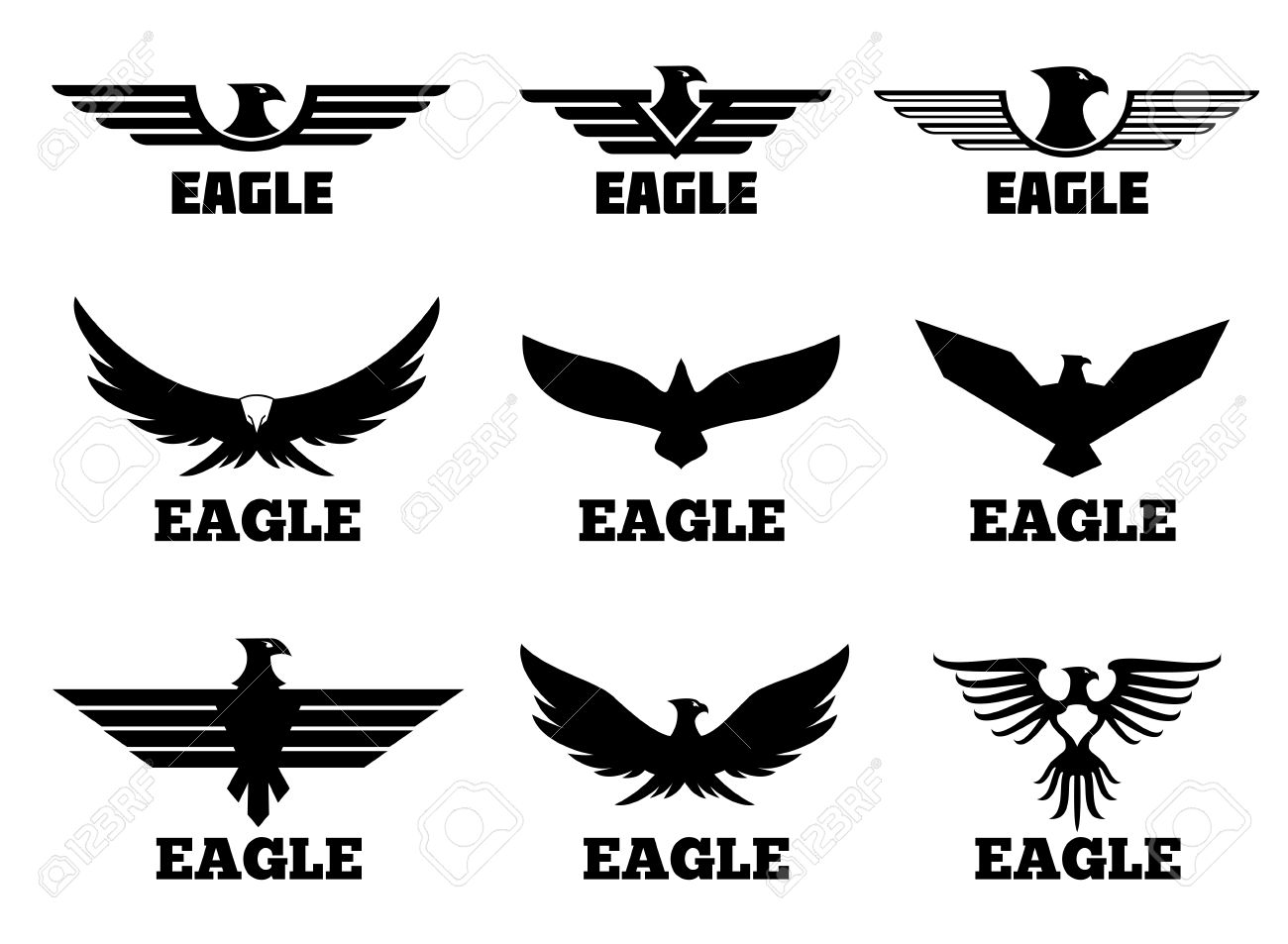 Eagles Set Black Predator Eagle For Fly Eagle Tattoo