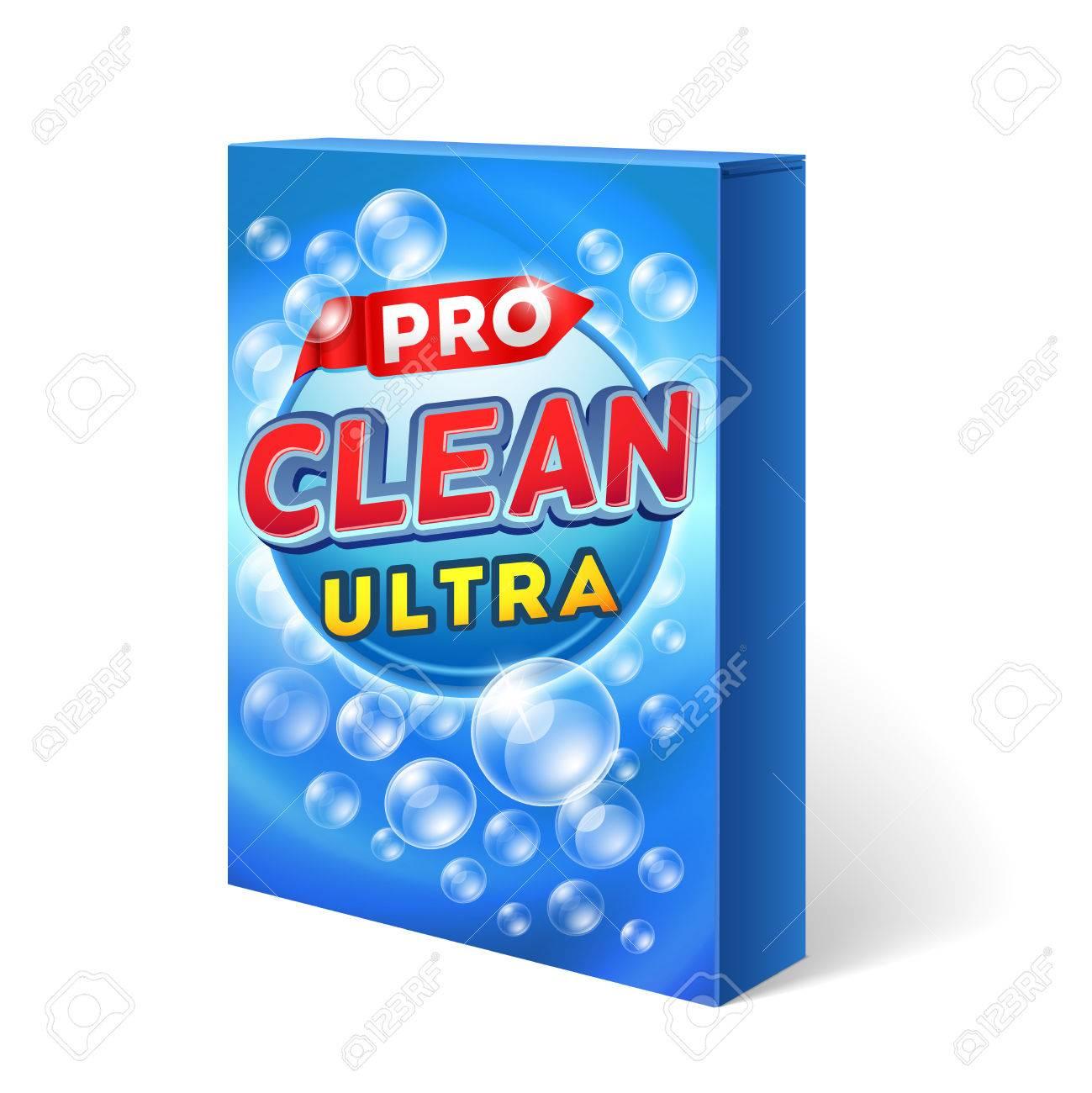 Powdered detergent design on cardboard package mockup. Powder washing chemical, packaging washing, bag, washing cleaning illustration - 55823257