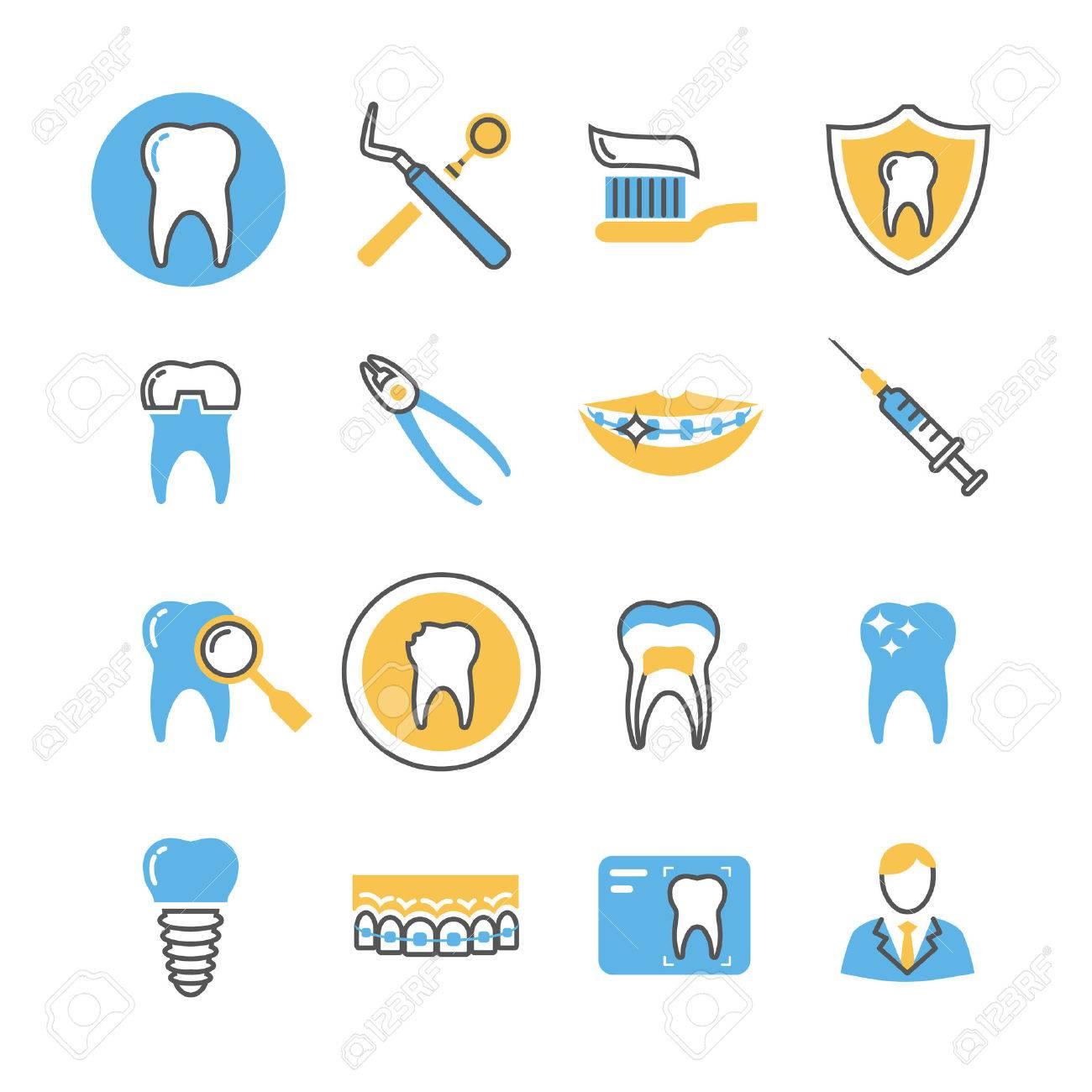 歯科医療サービス設備製品線形ベクトルのアイコンは色の要素を持つ