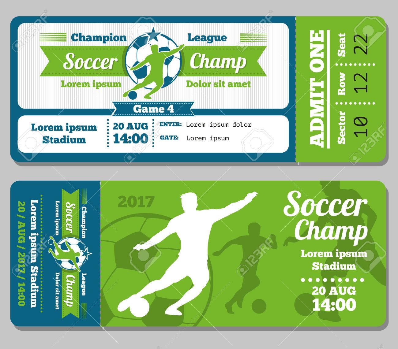 Football, Soccer Vector Ticket Template. Footbal Ticket And Soccer ...