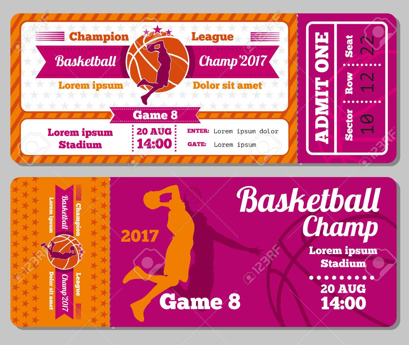 Modern Basketball Ticket Vector Template. Ticket For Stadium To Basketball  Play Match. Competition Tournament  Play Ticket Template