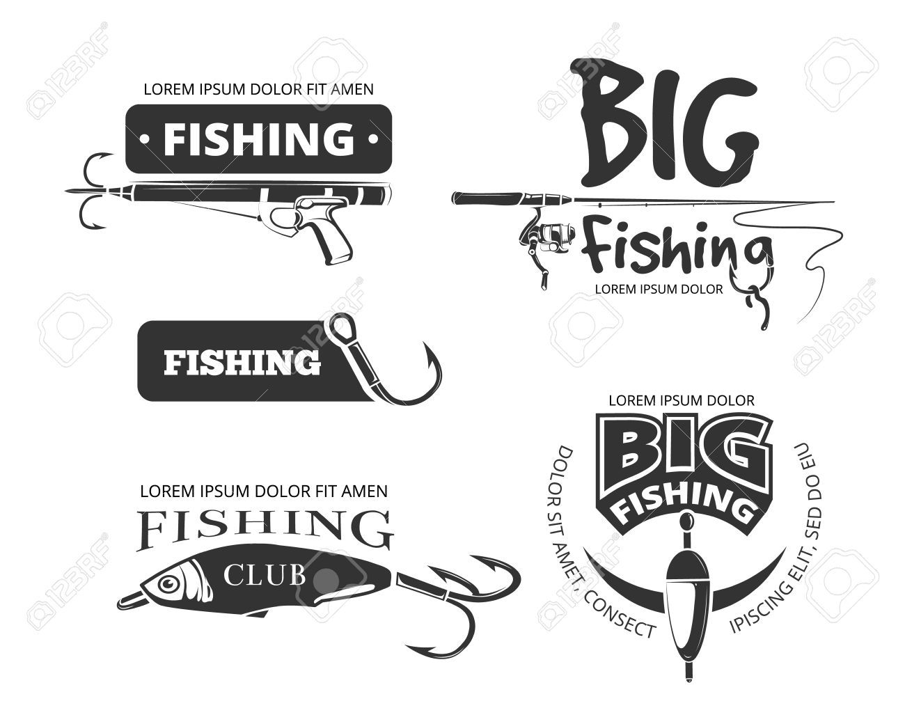 Retro fishing club vector badges, labels, logos, emblems. Label and icon for fishing club, catch fish and outfit for fishing illustration - 57185129