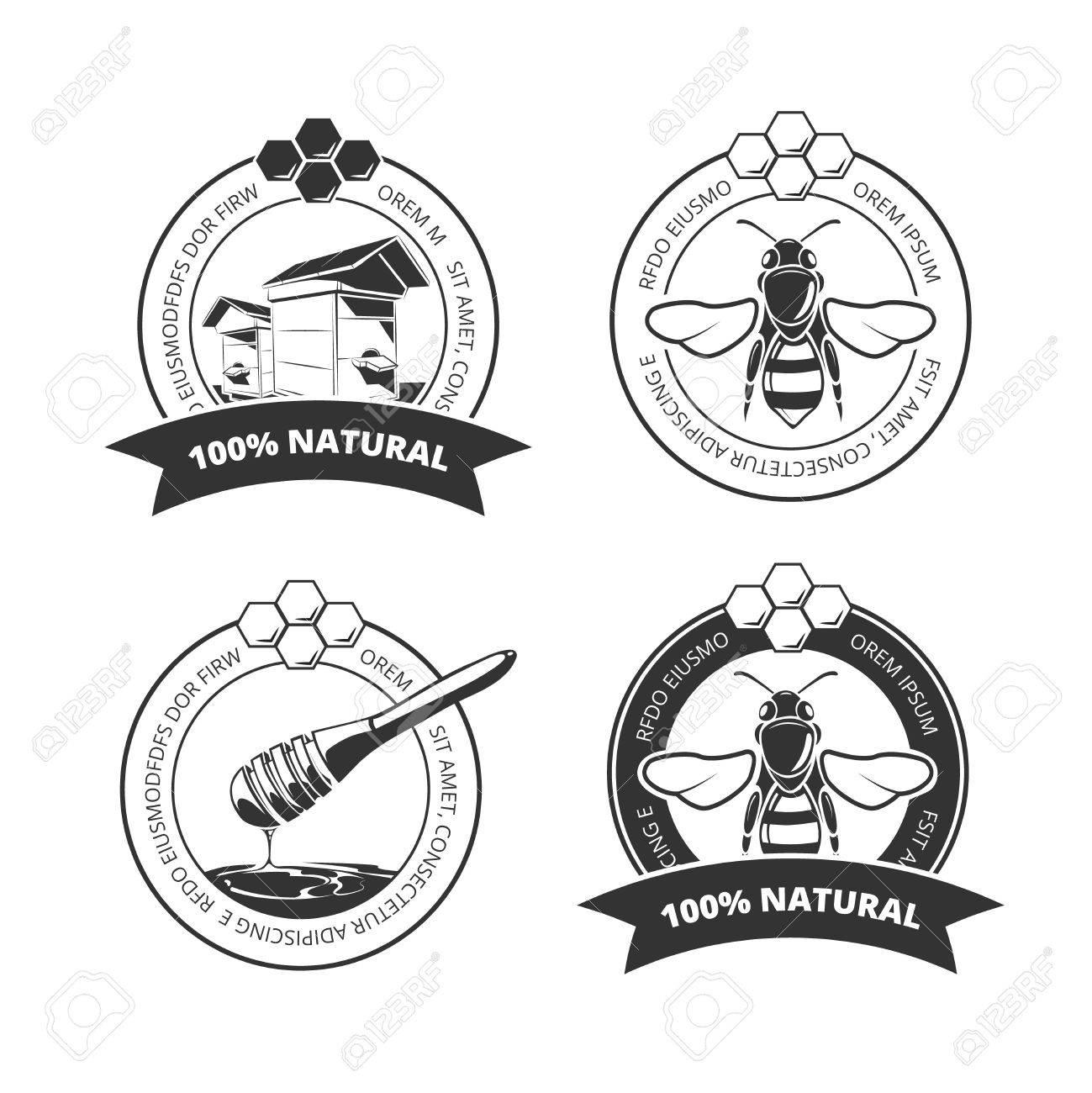Vintage Honey And Bee Vector Labels Badges Emblems Logos Set