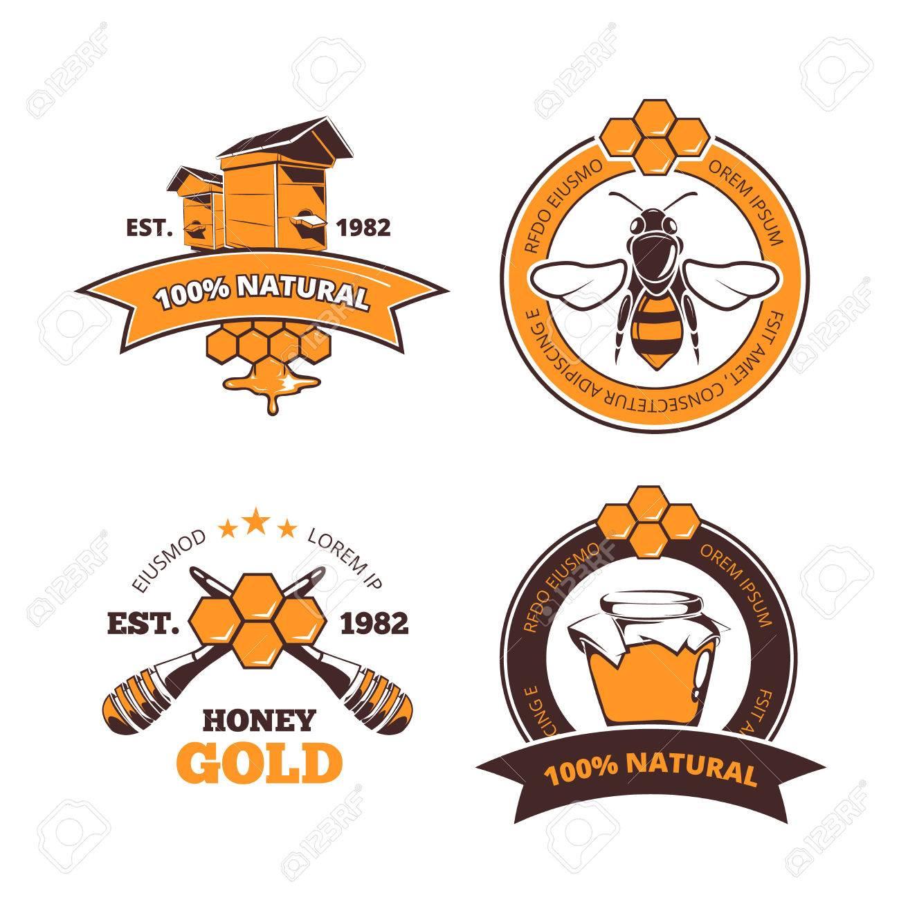 retro beekeeper honey vector labels or badges honey logo with