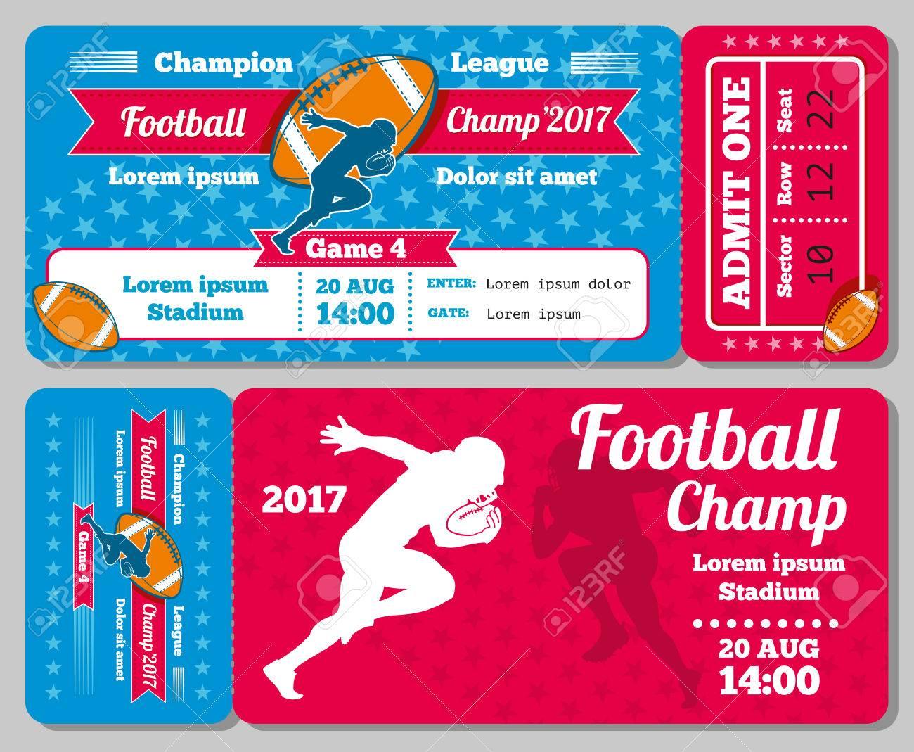 Rugby, Diseño Retro Boleto De Los Deportes De Fútbol Vector De La ...