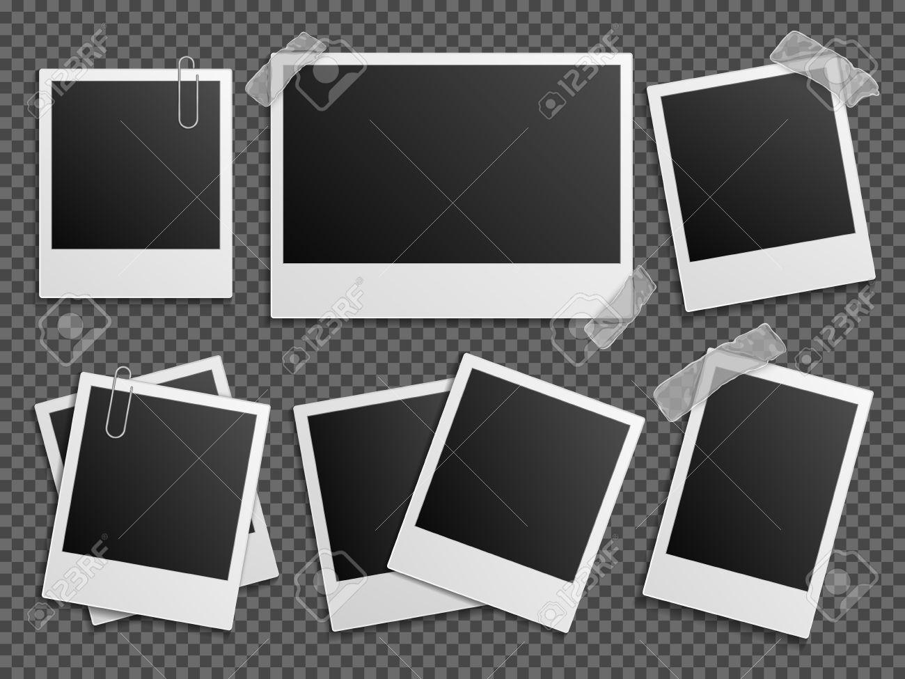 Retro-Foto-Vektor-Set. Polaroid-Rahmen Für Familienalbum. Leere ...